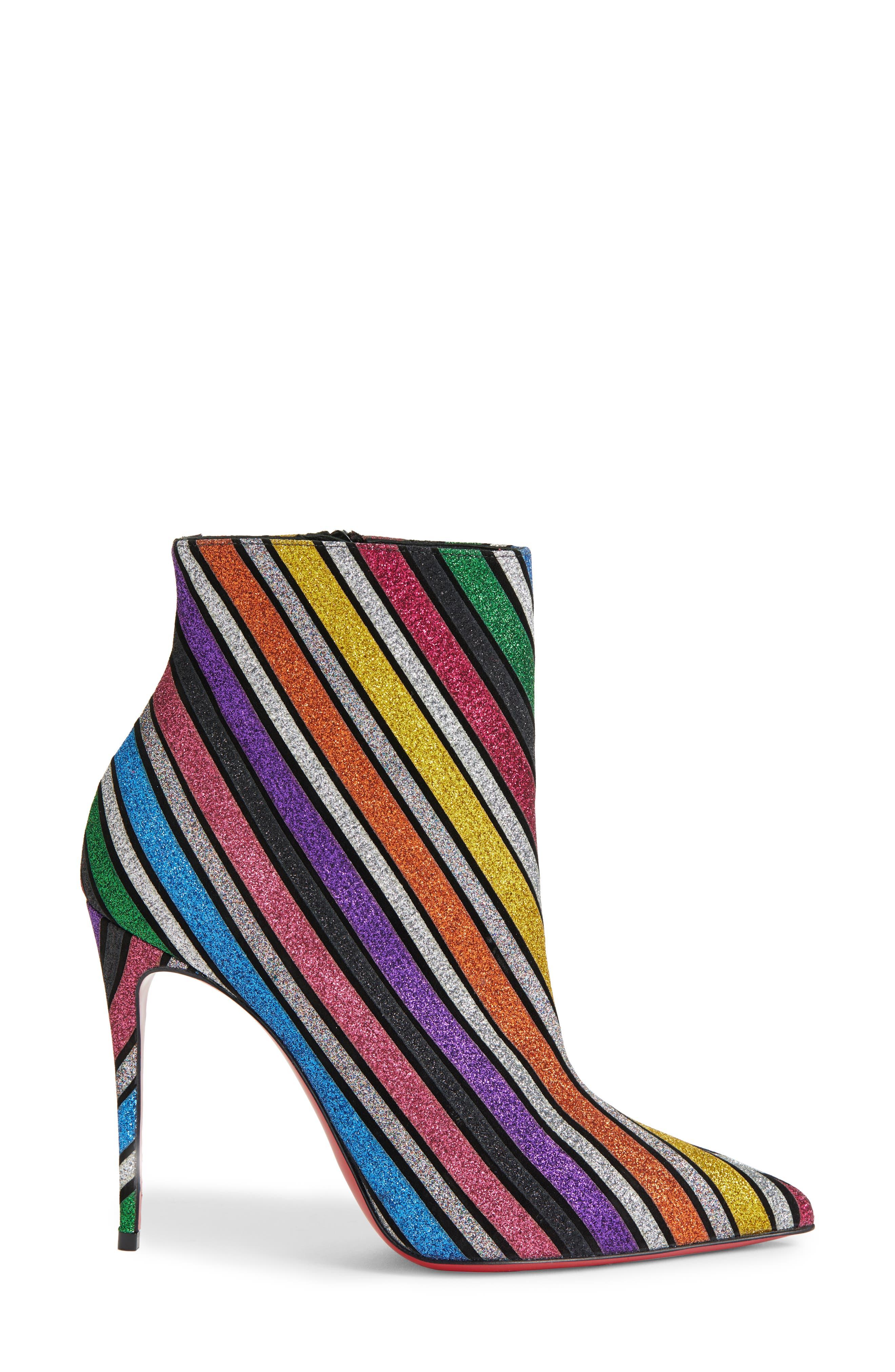 CHRISTIAN LOUBOUTIN,                             So Kate Stripe Bootie,                             Alternate thumbnail 3, color,                             RAINBOW STRIPE