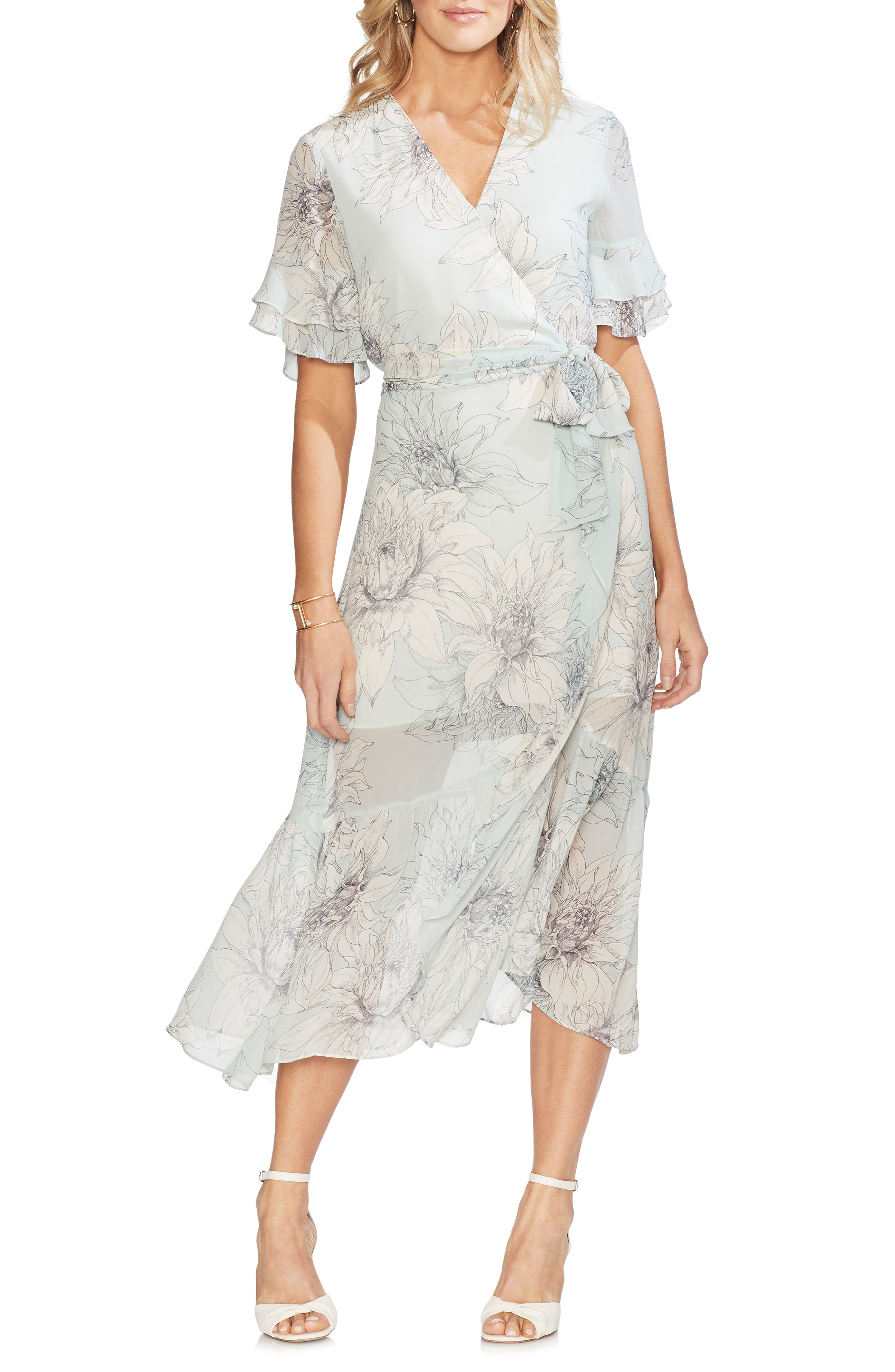 Vince Camuto Blossoms Tiered Ruffle Midi Dress, Green