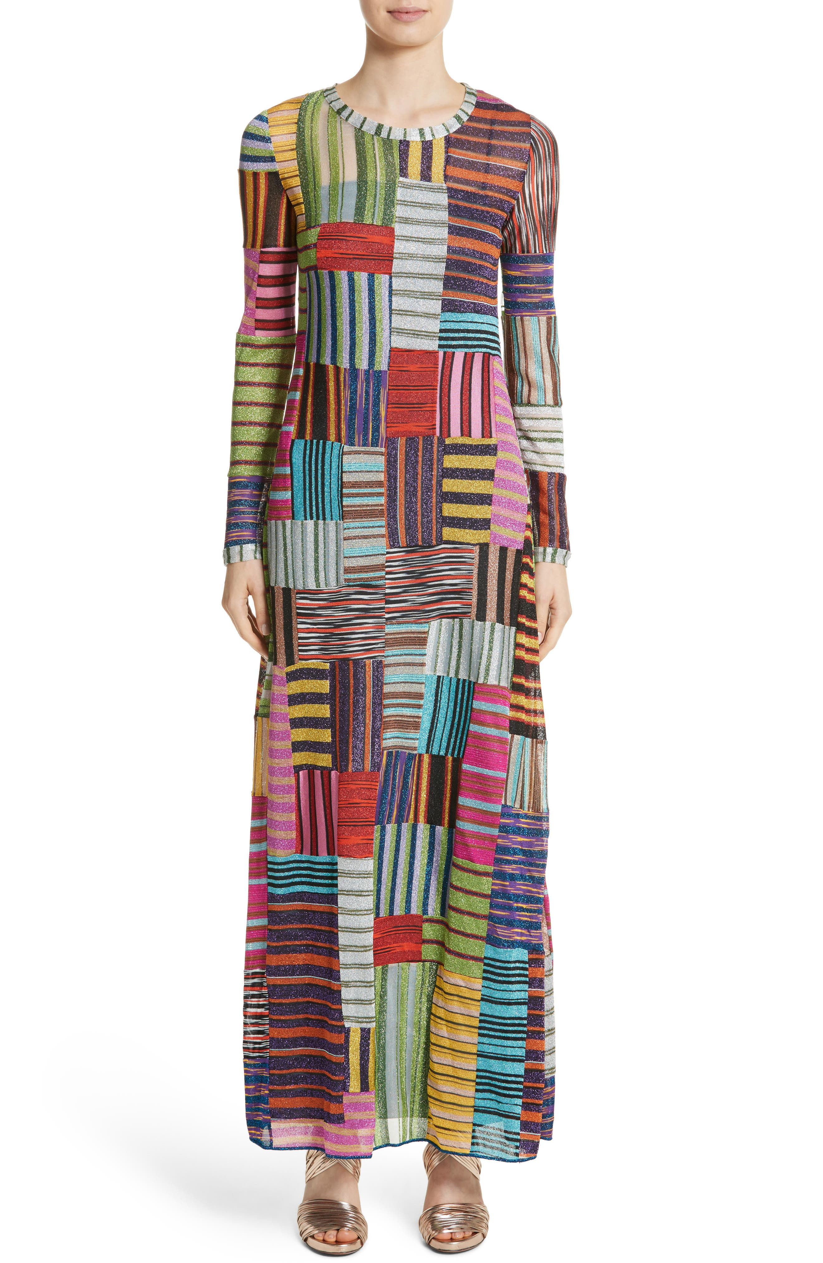 Metallic Patchwork Stripe Knit Maxi Dress,                             Main thumbnail 1, color,