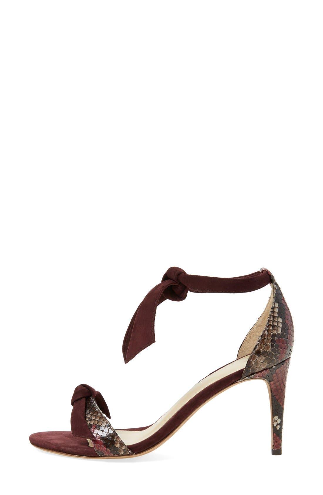 'Clarita' Suede & Genuine Python Ankle Tie Sandal,                             Alternate thumbnail 4, color,                             930
