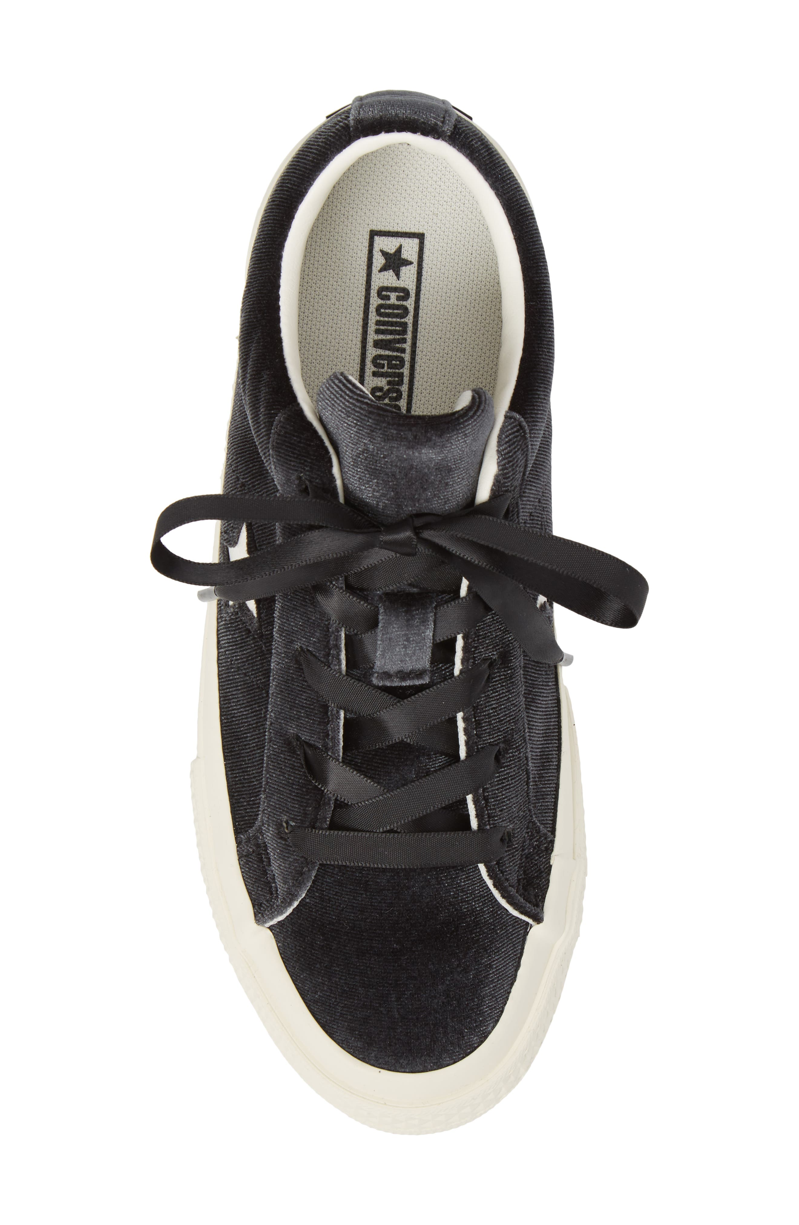 Chuck Taylor<sup>®</sup> All Star<sup>®</sup> One Star Velvet Platform Sneaker,                             Alternate thumbnail 5, color,                             001