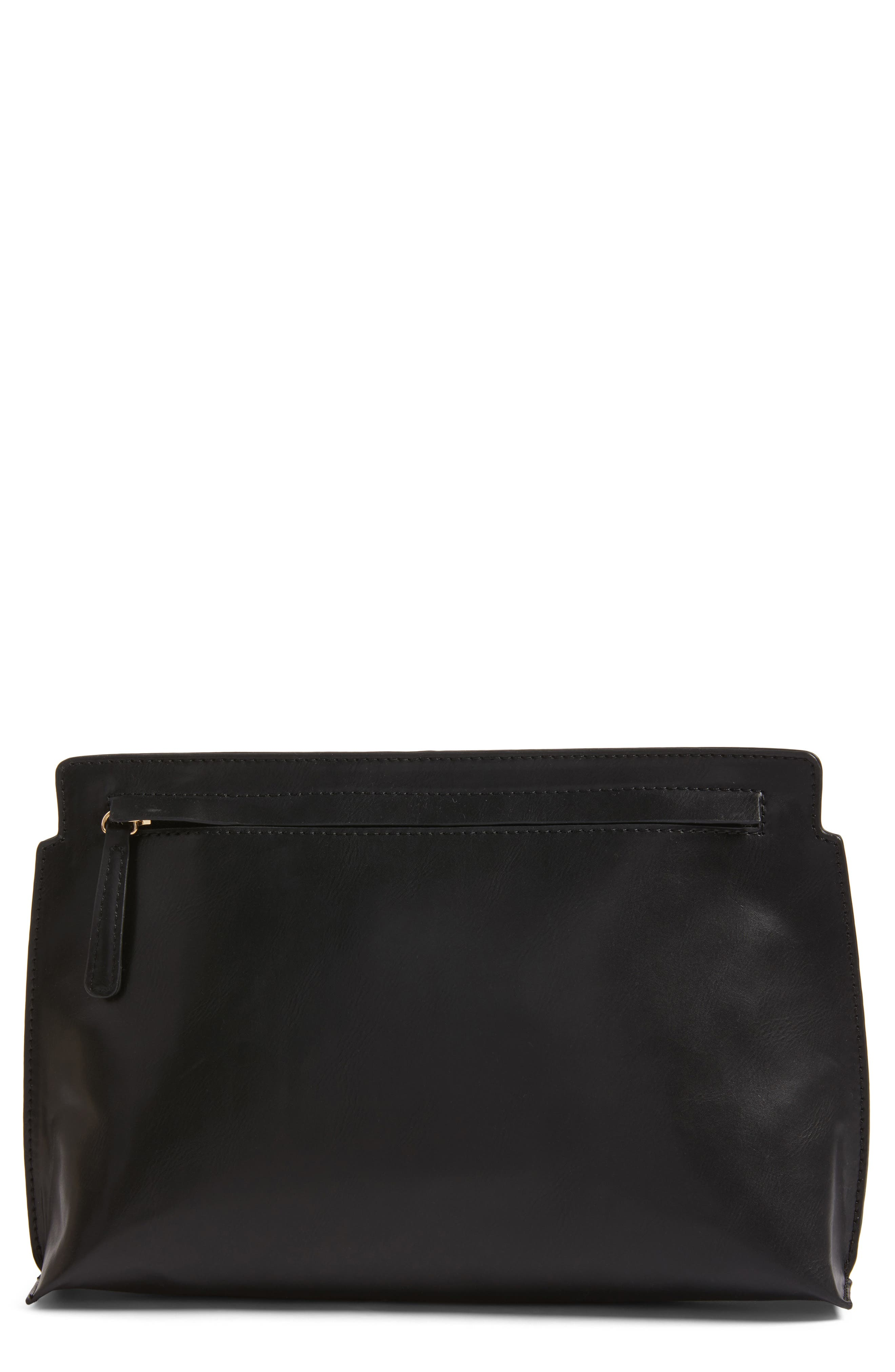 BP. Faux Leather Clutch, Main, color, 001