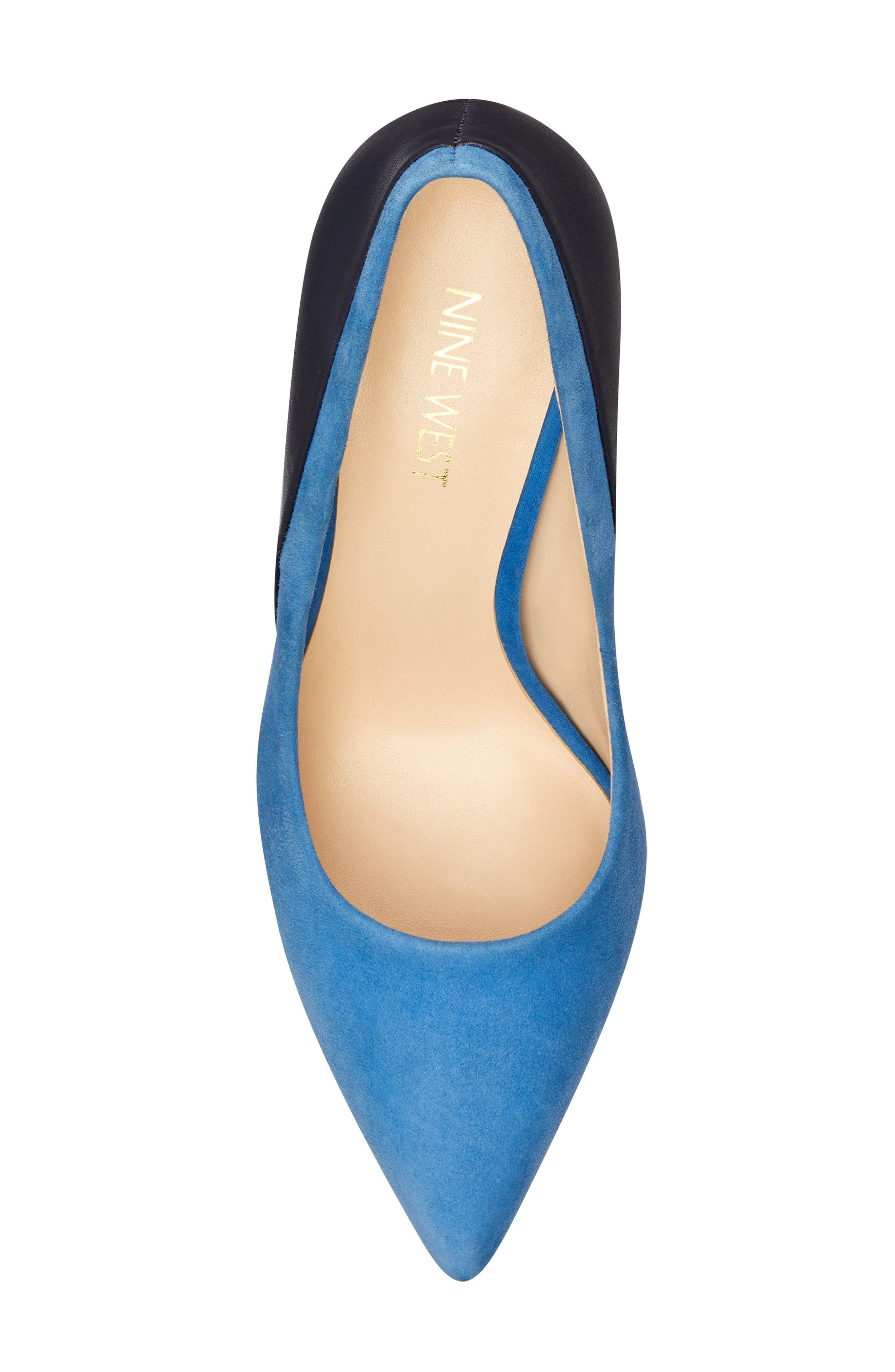 Taymra Pointy Toe Pump,                             Alternate thumbnail 5, color,                             BLUE/ NAVY SUEDE