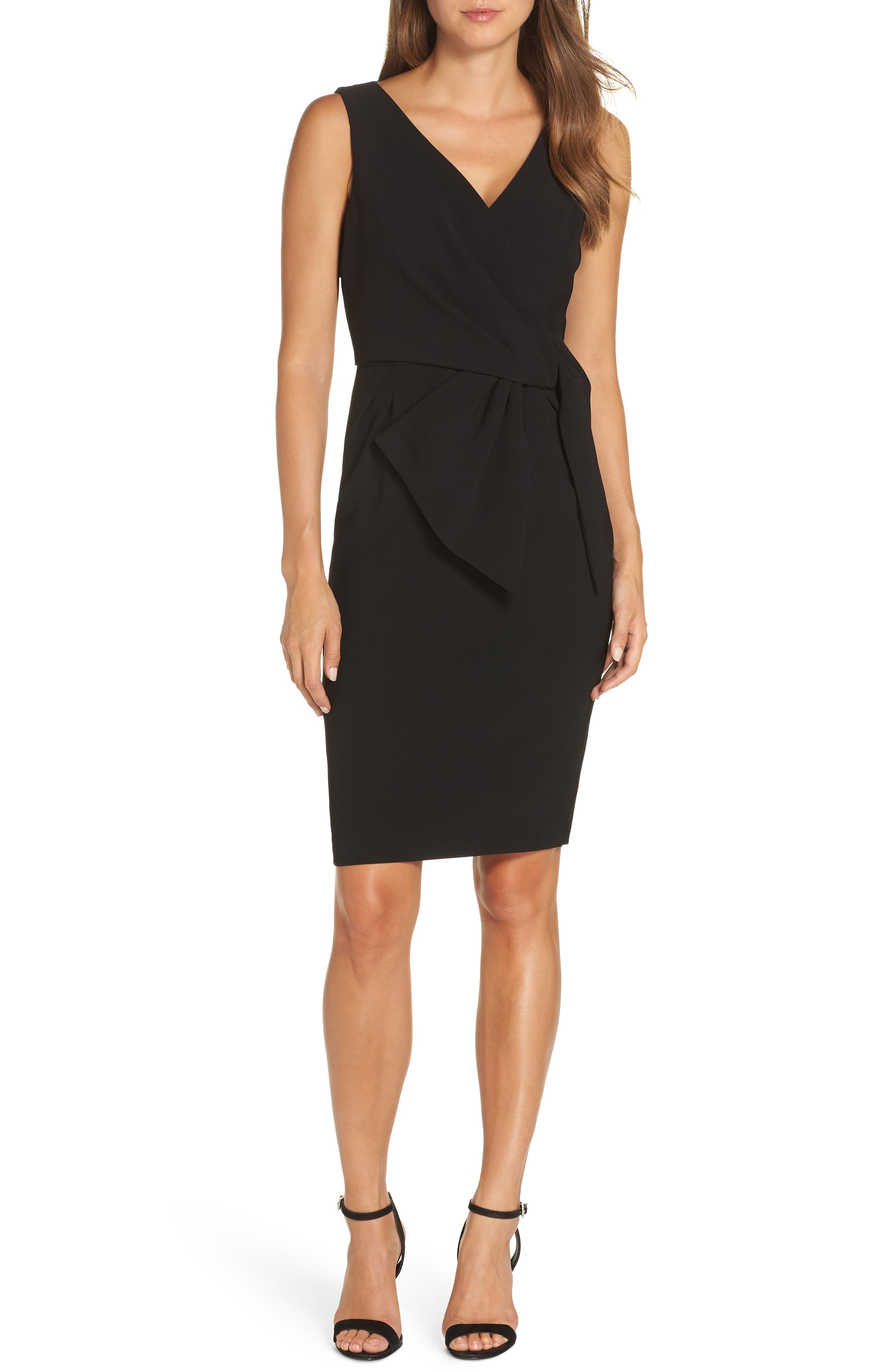 Faux Wrap Sheath Dress,                             Main thumbnail 1, color,                             BLACK