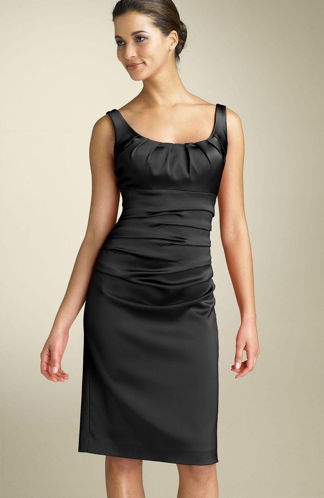 Stretch Satin Sheath Dress,                             Main thumbnail 1, color,                             401