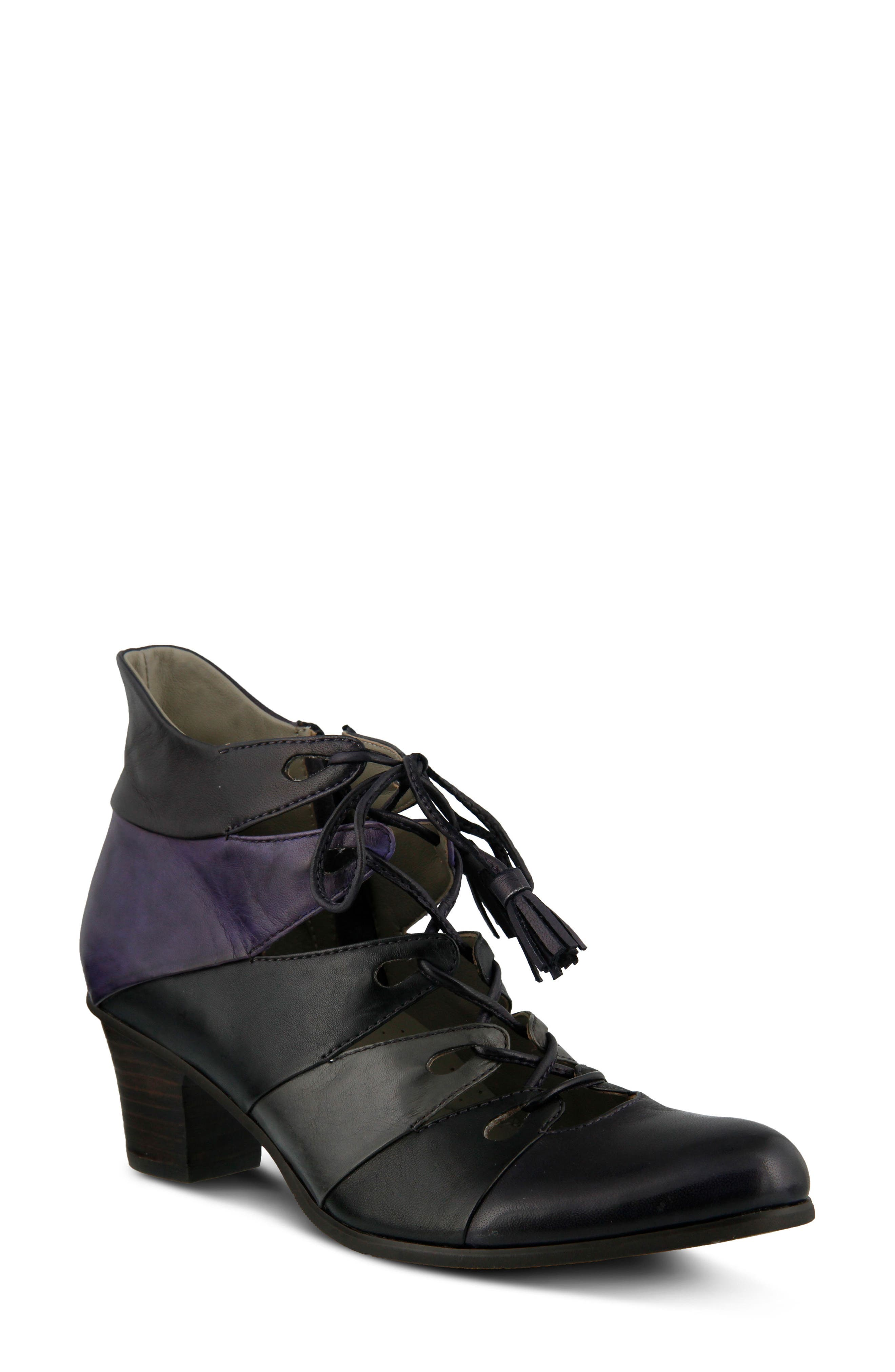 Estrela Ghillie Bootie,                             Main thumbnail 1, color,                             PURPLE MULTI LEATHER