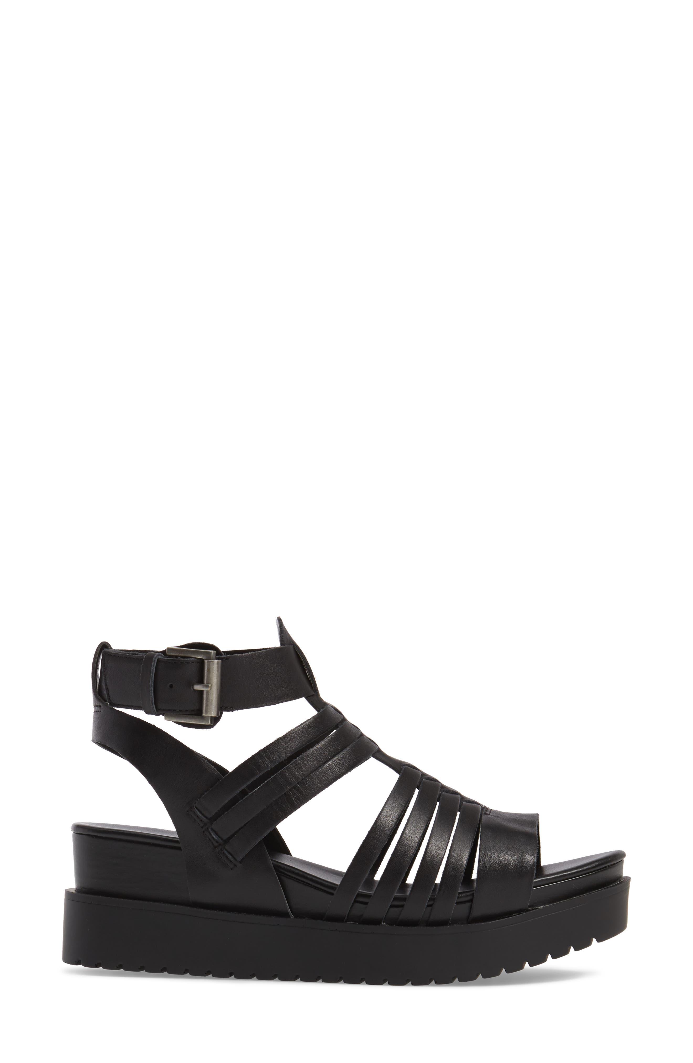 Ronnie Gladiator Platform Sandal,                             Alternate thumbnail 3, color,                             001