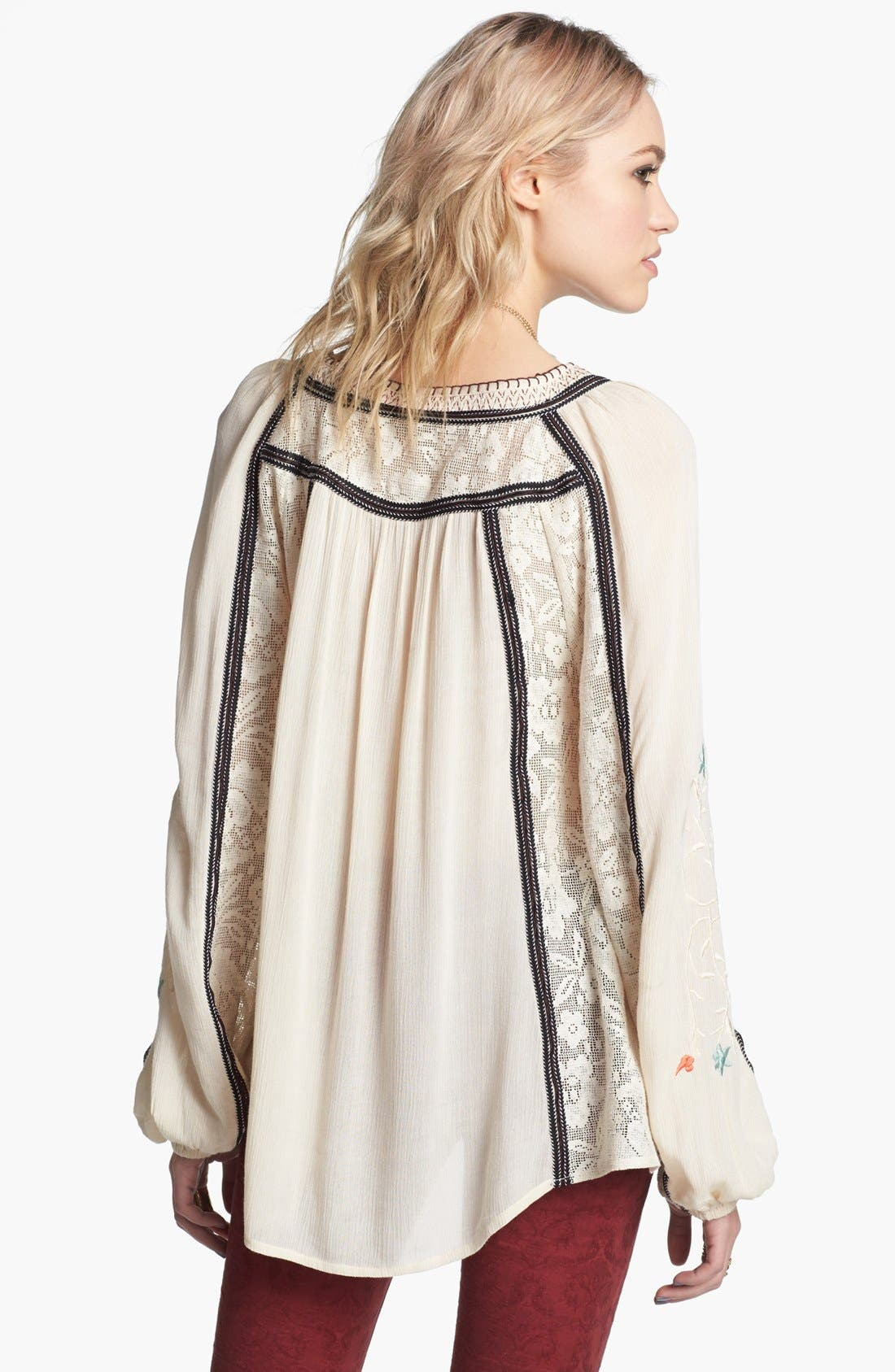 FREE PEOPLE,                             'Tiger Lily' Embroidered Top,                             Alternate thumbnail 4, color,                             900
