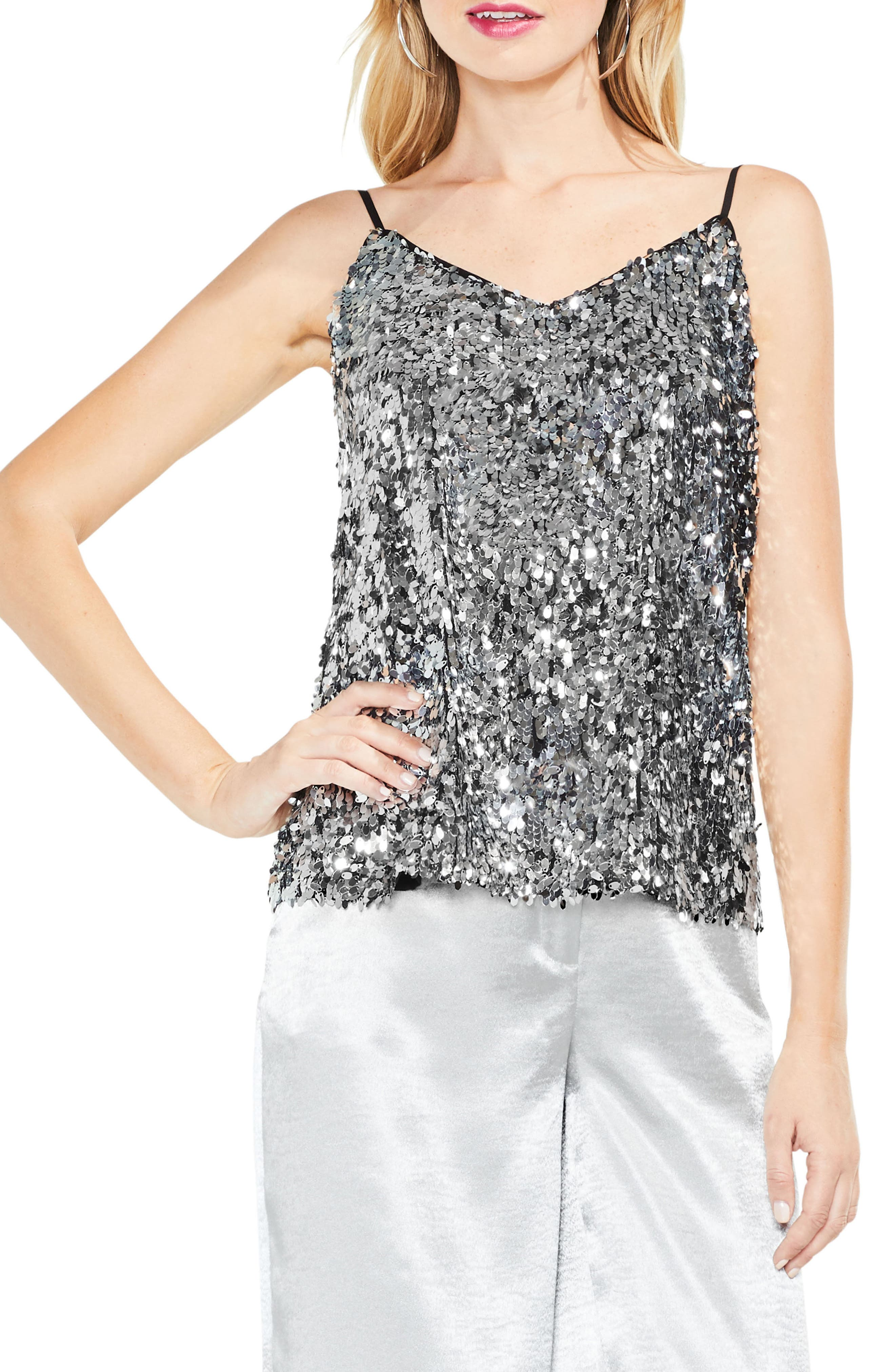 Allover Sequin Camisole Top,                             Main thumbnail 1, color,