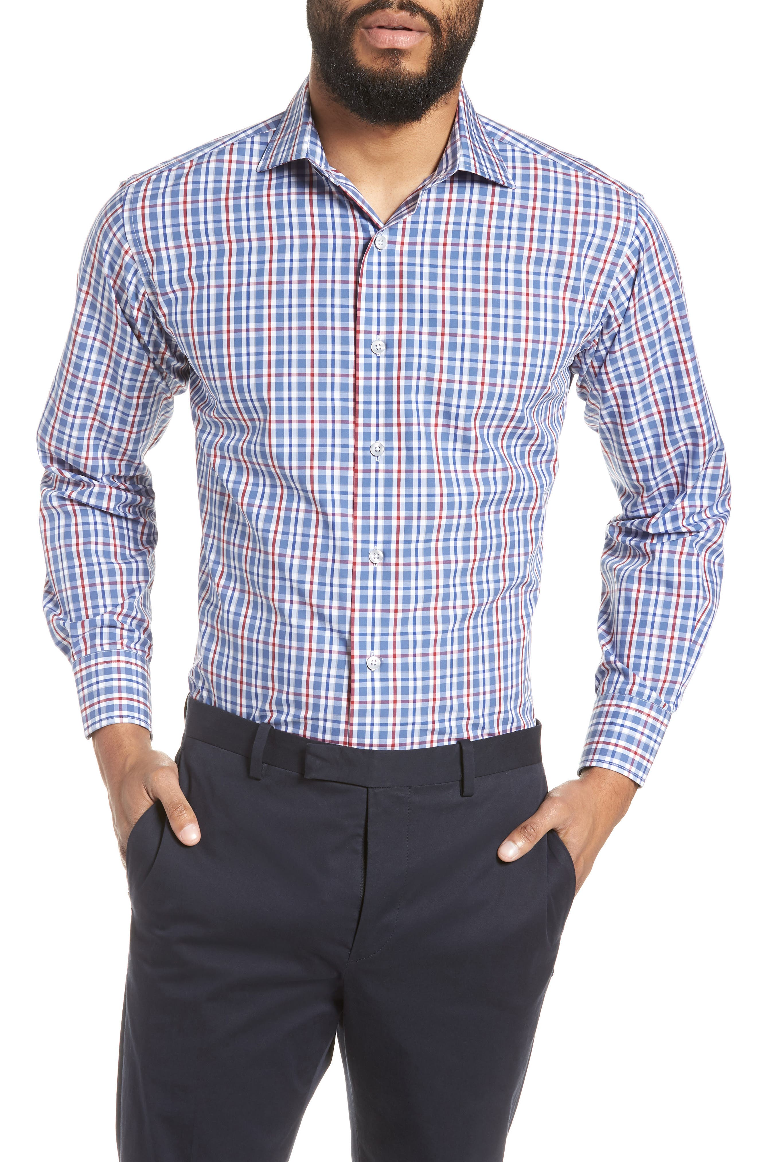 Trim Fit Plaid Dress Shirt,                         Main,                         color, 410