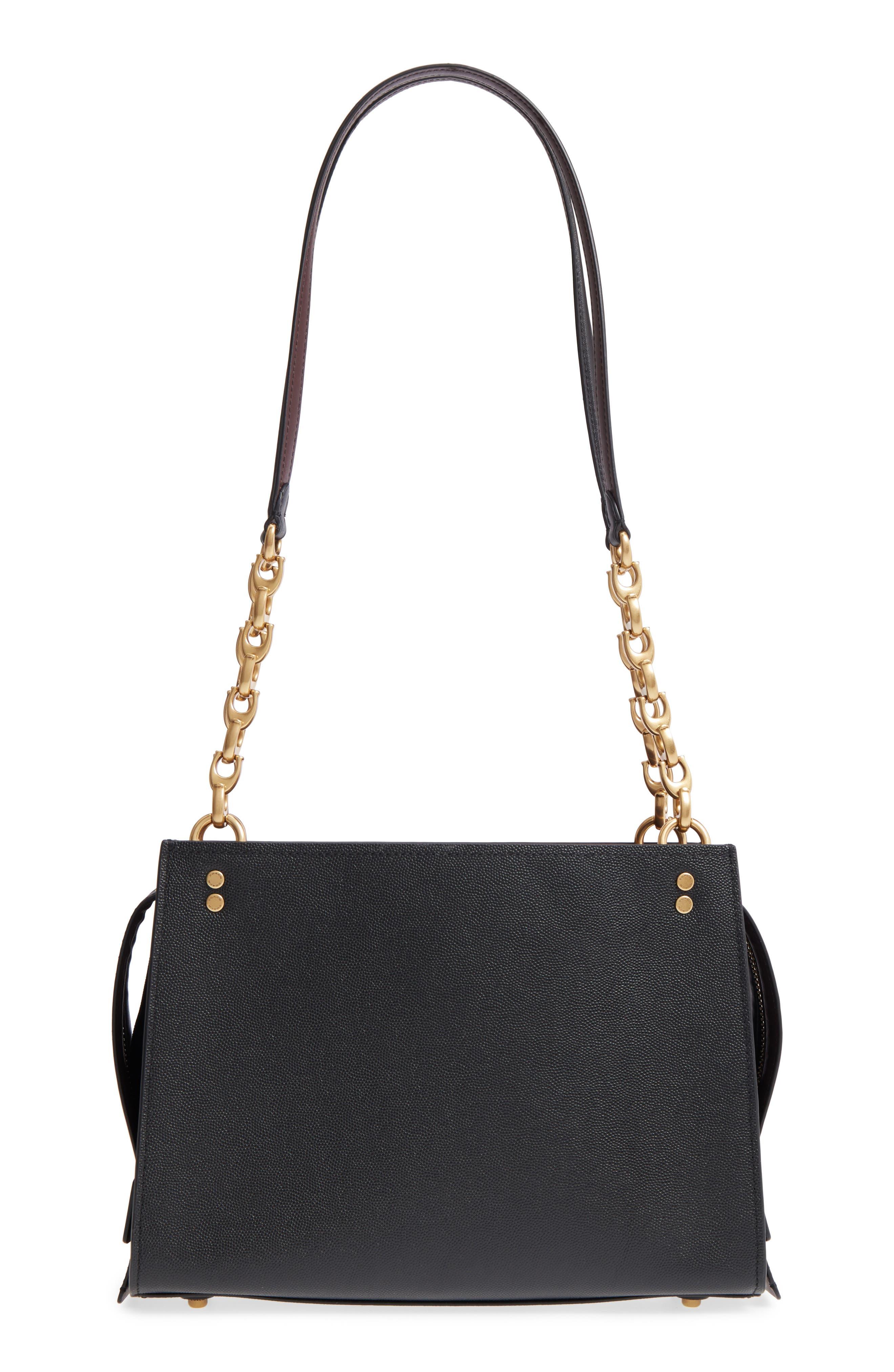 Rogue Leather Shoulder Bag,                         Main,                         color, BLACK