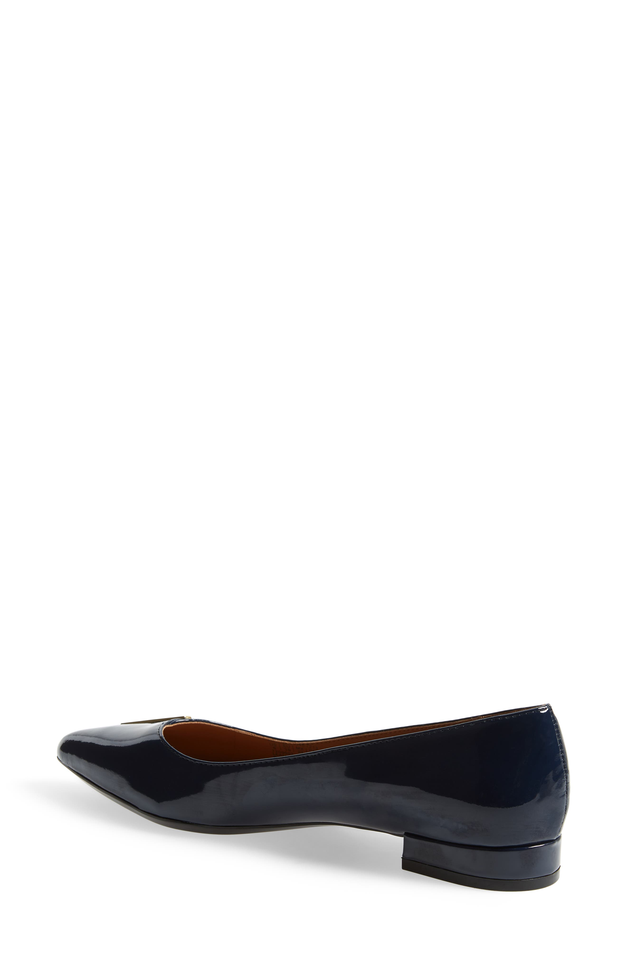 Arline Pointy Toe Flat,                             Alternate thumbnail 2, color,                             NAVY PATENT LEATHER