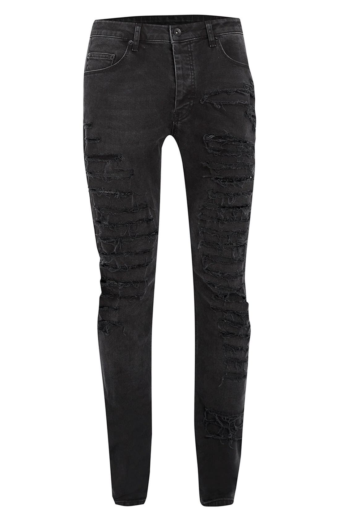 'AAA Collection' Shredded Stretch Skinny Fit Jeans,                             Alternate thumbnail 5, color,                             001