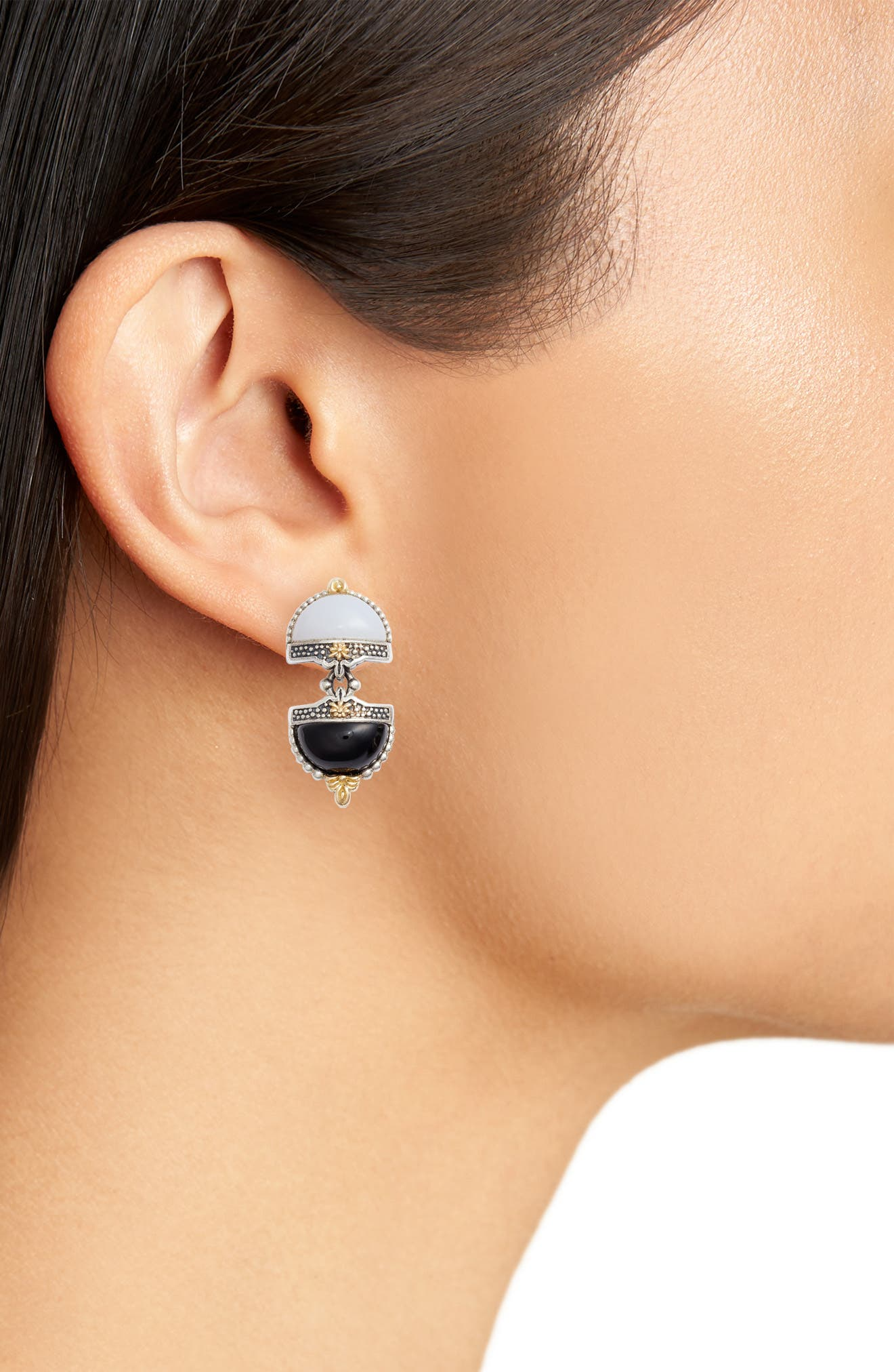 Sterling Silver & Agate Drop Earrings,                             Alternate thumbnail 2, color,                             BLACK/ WHITE/ SILVER/ GOLD
