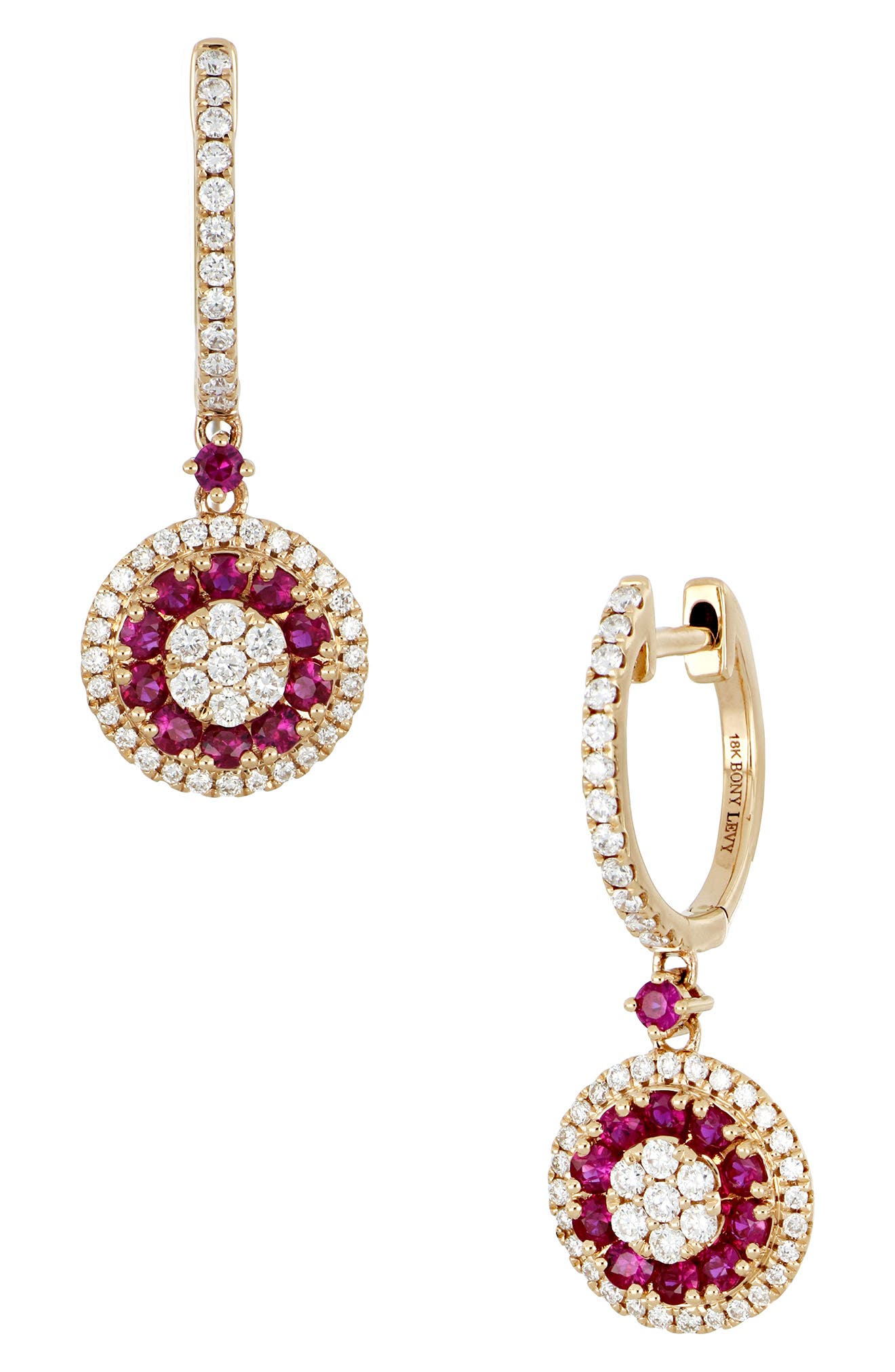 BONY LEVY,                             Ruby & Diamond Drop Earrings,                             Main thumbnail 1, color,                             ROSE GOLD/ RUBY
