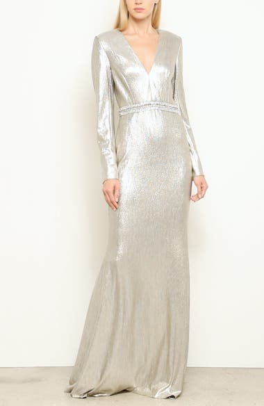 Beaded Waist Metallic Gown, video thumbnail
