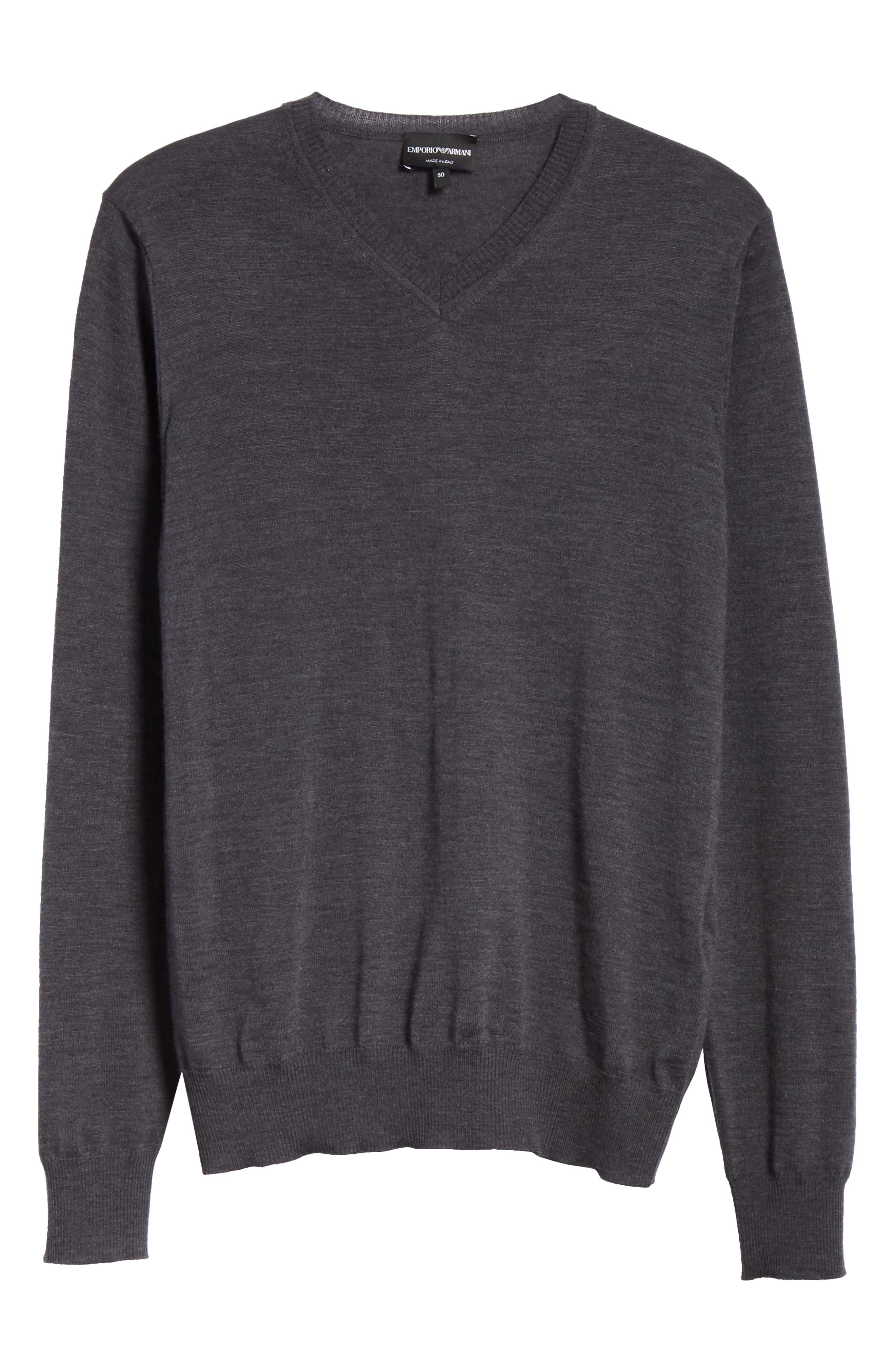 V-Neck Wool Sweater,                             Alternate thumbnail 6, color,                             GREY