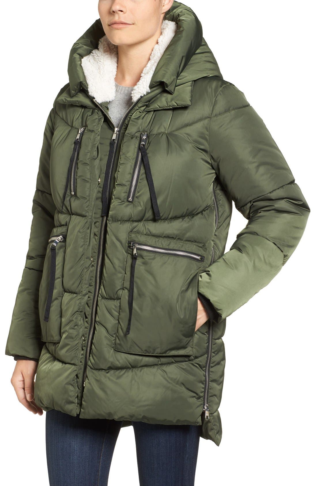 Hooded Puffer Jacket with Faux Shearling Trim,                             Alternate thumbnail 17, color,