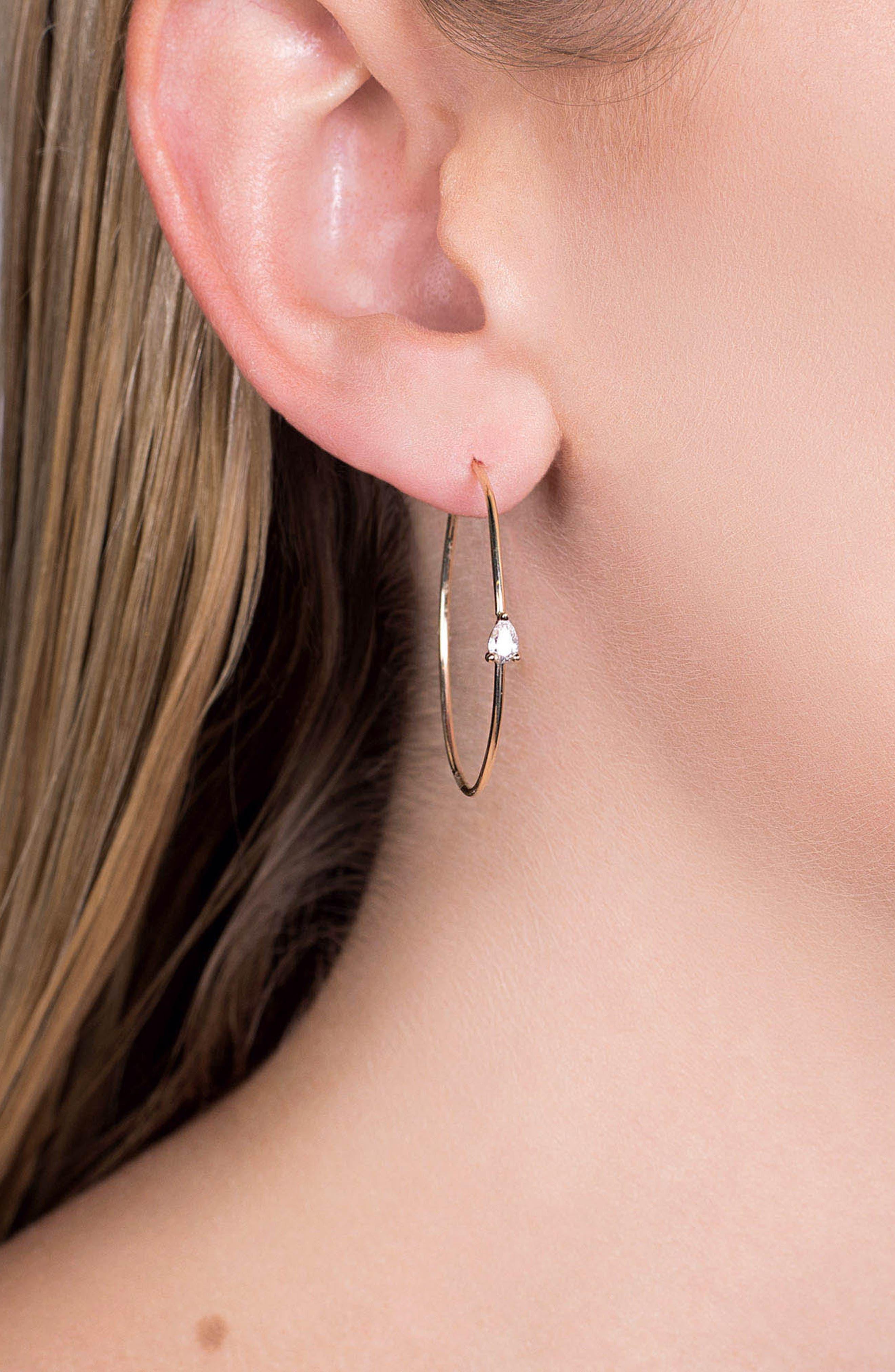Pear Diamond Hoop Earrings,                             Alternate thumbnail 2, color,                             GOLD