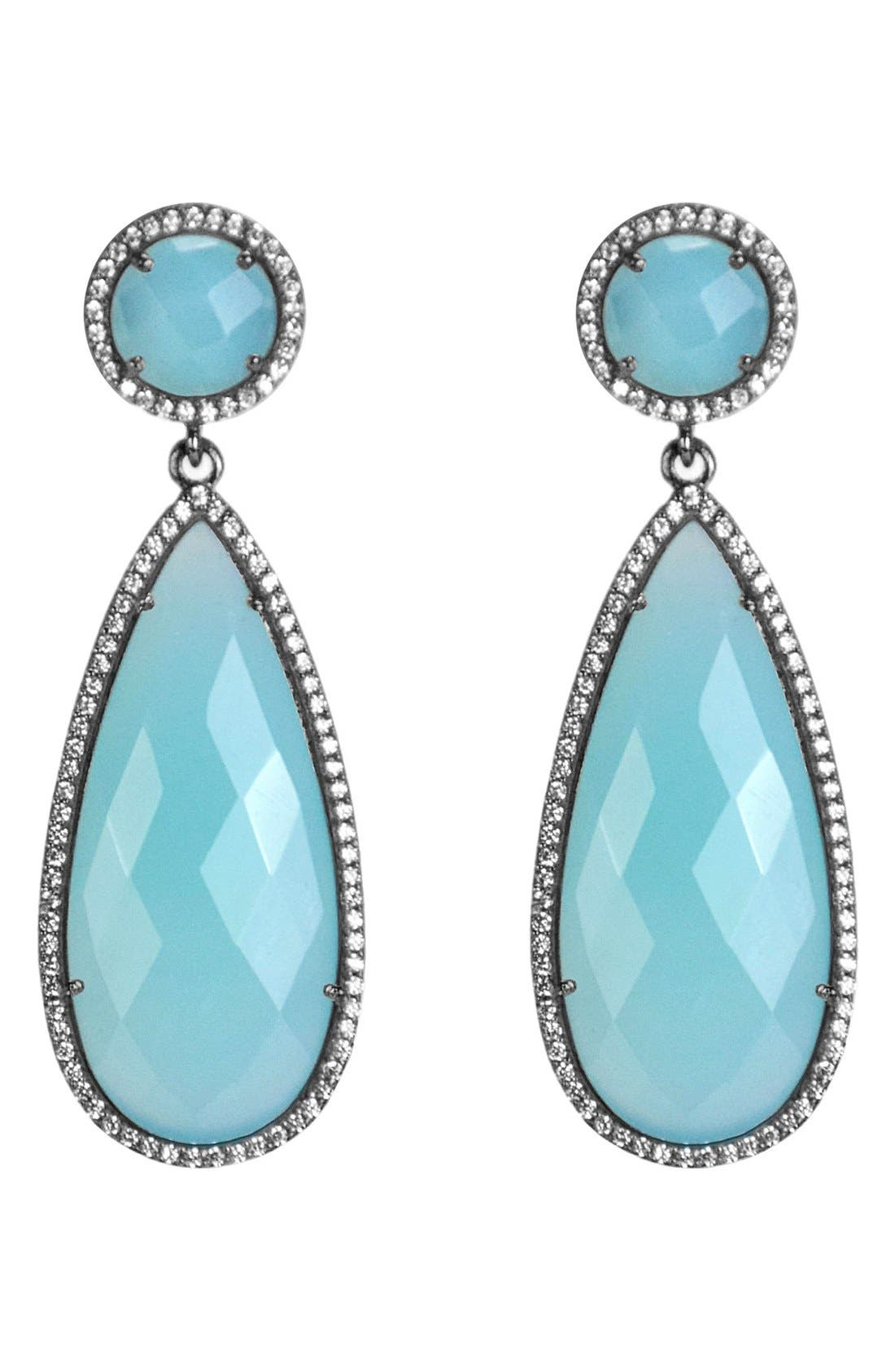 Semiprecious Stone Double Drop Earrings,                             Main thumbnail 5, color,