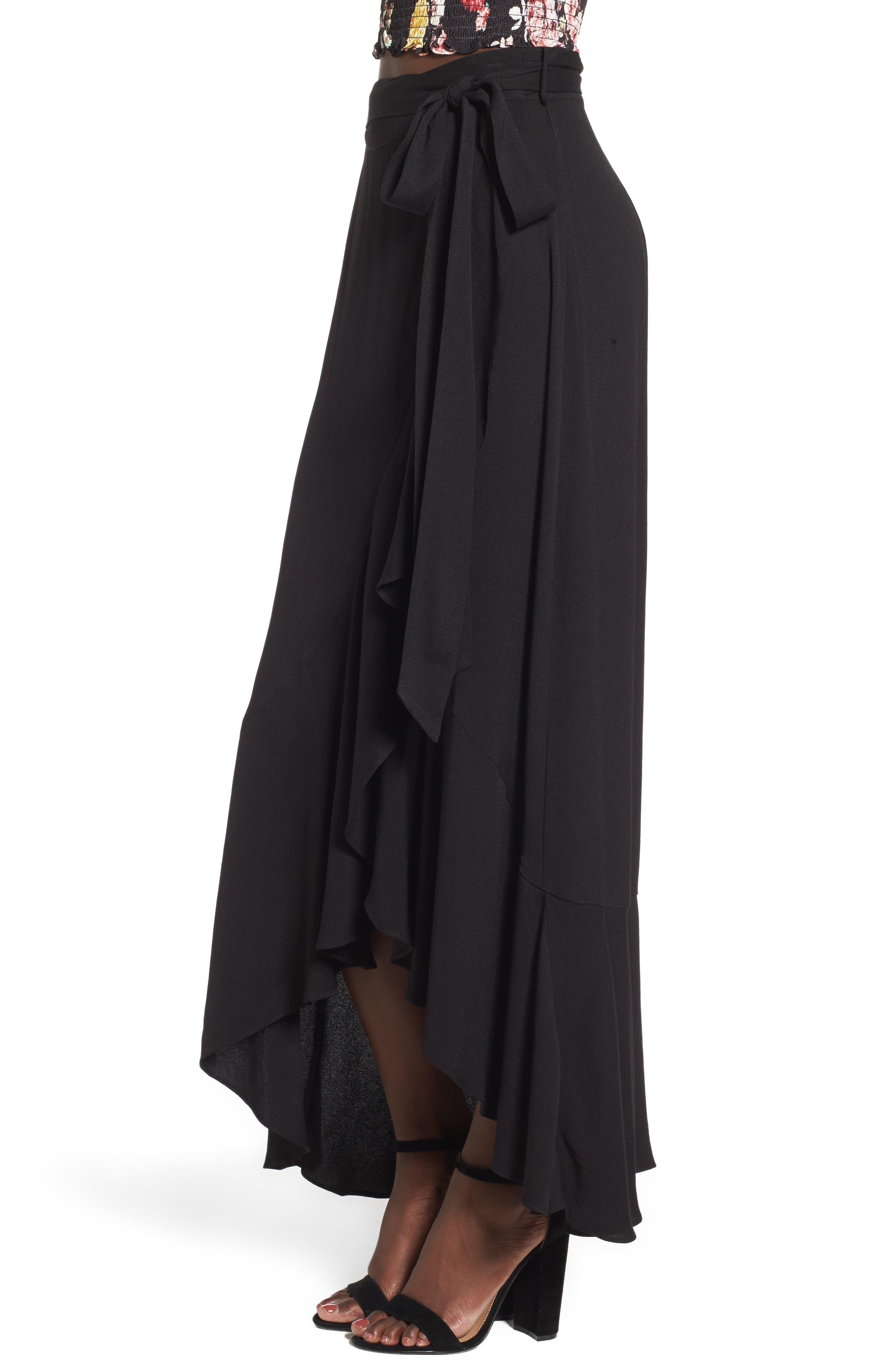 Amelia Ruffle Wrap Skirt,                             Alternate thumbnail 3, color,                             001