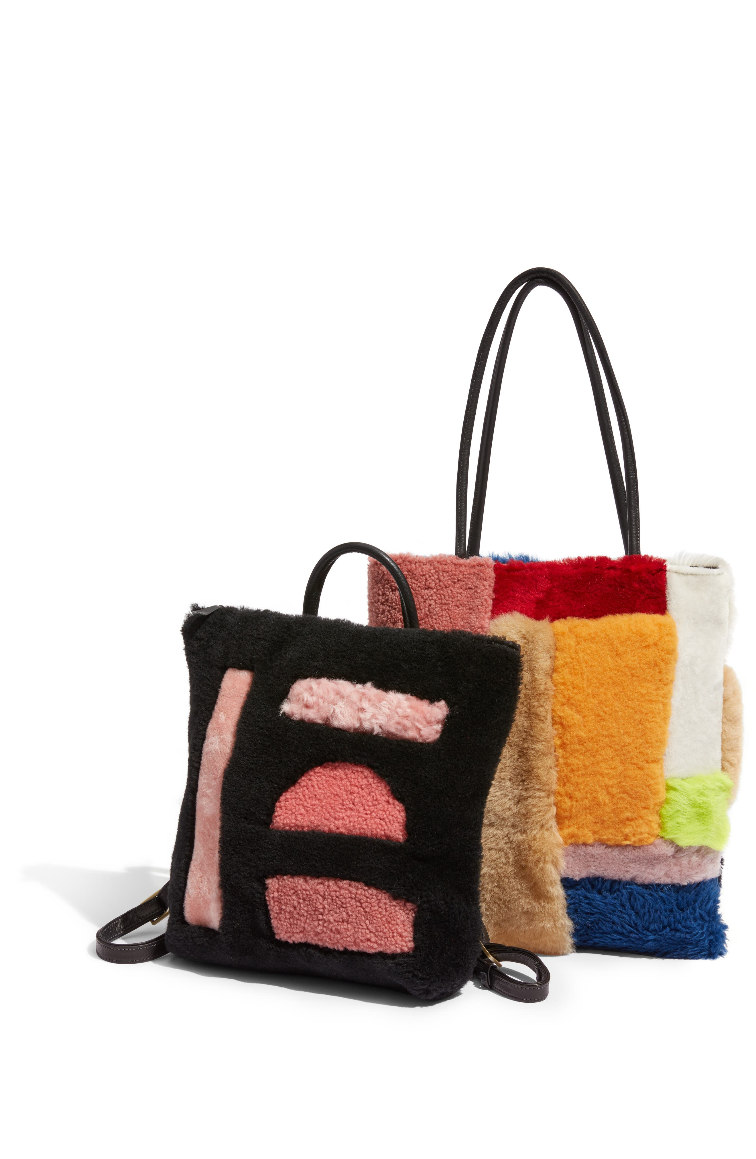 Patchwork Genuine Shearling Tote,                             Alternate thumbnail 7, color,                             MULTI COLOR