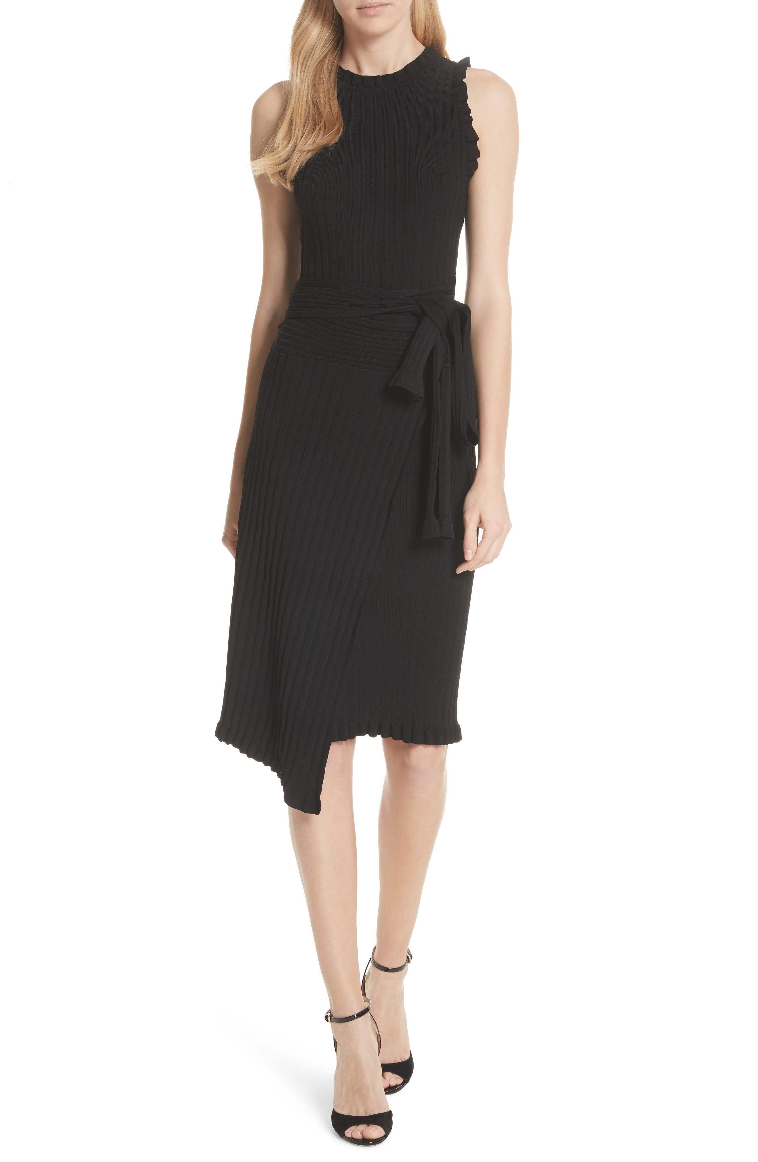Ribbed Tie Waist Sweater Dress,                         Main,                         color, 001