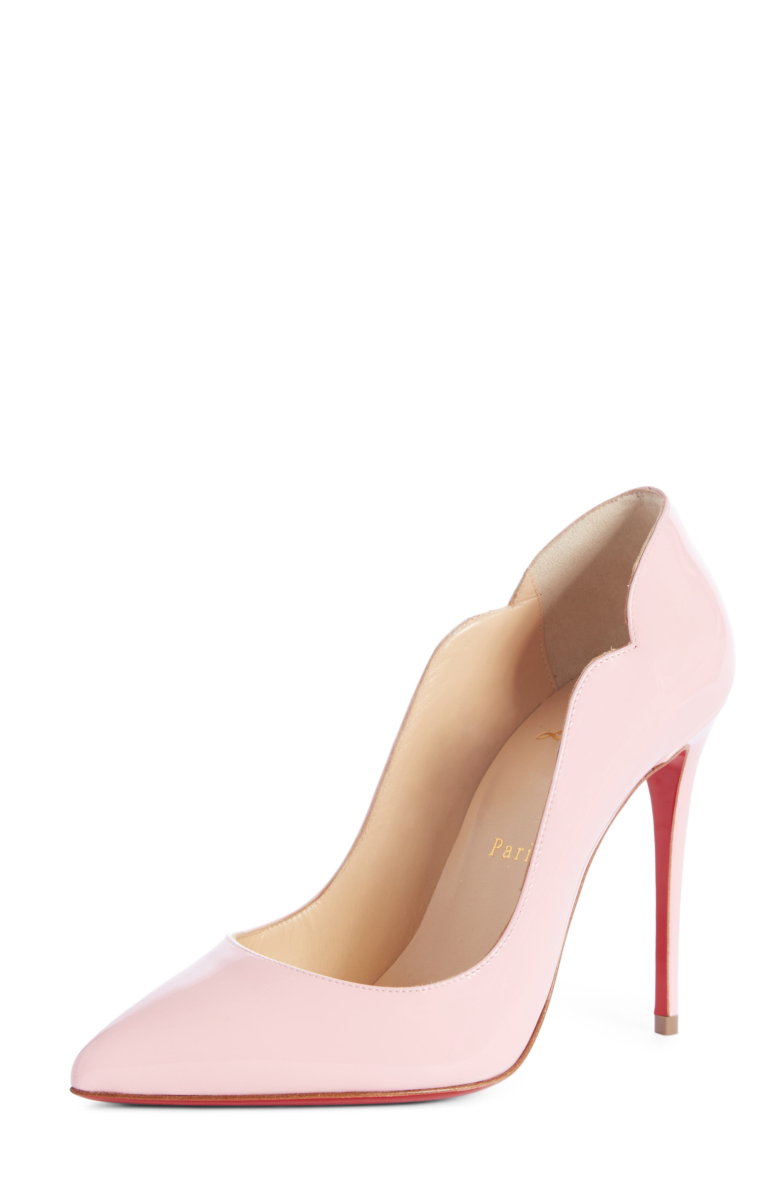Hot Chick 100 Patent Red Sole Pumps in Eglantine Patent