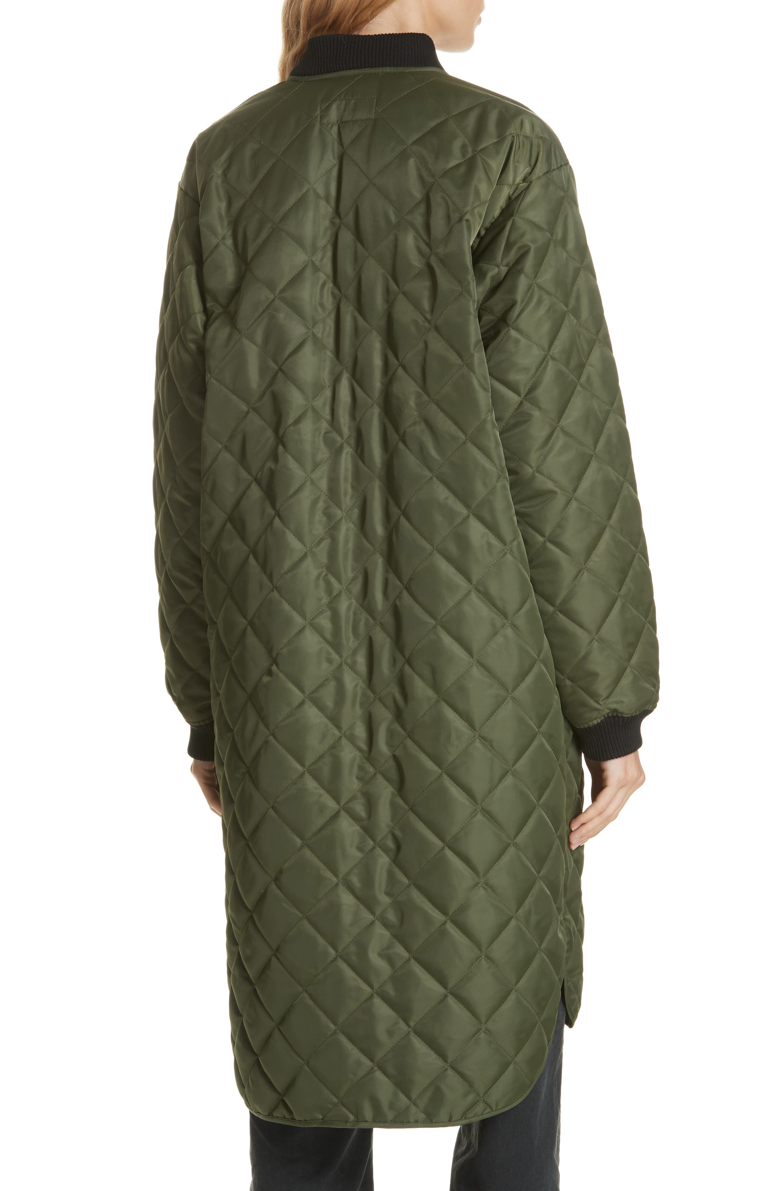 Quilted Long Coat,                             Alternate thumbnail 2, color,                             ARMY