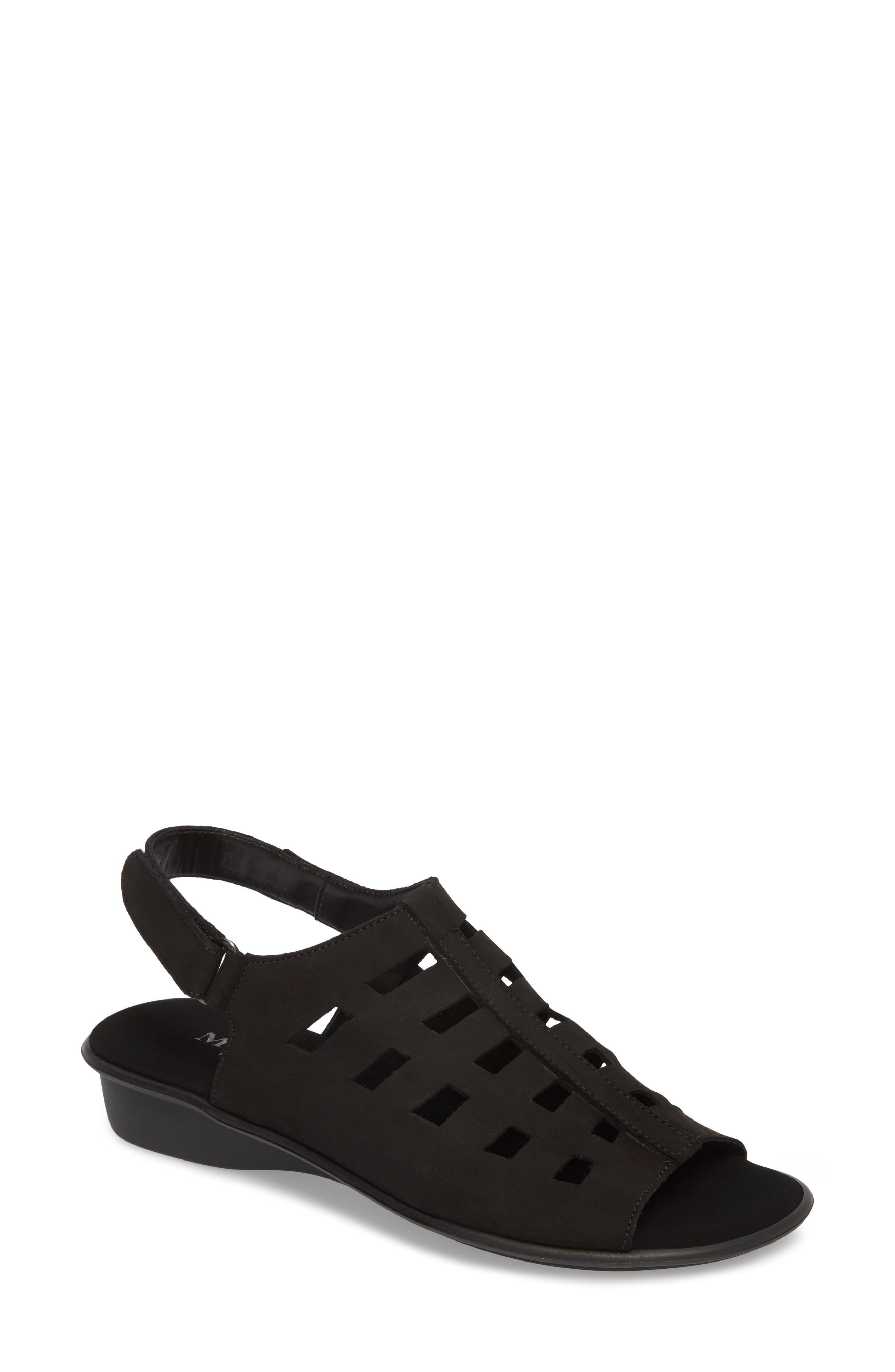 Elita Cutout Slingback Sandal,                         Main,                         color, BLACK NUBUCK