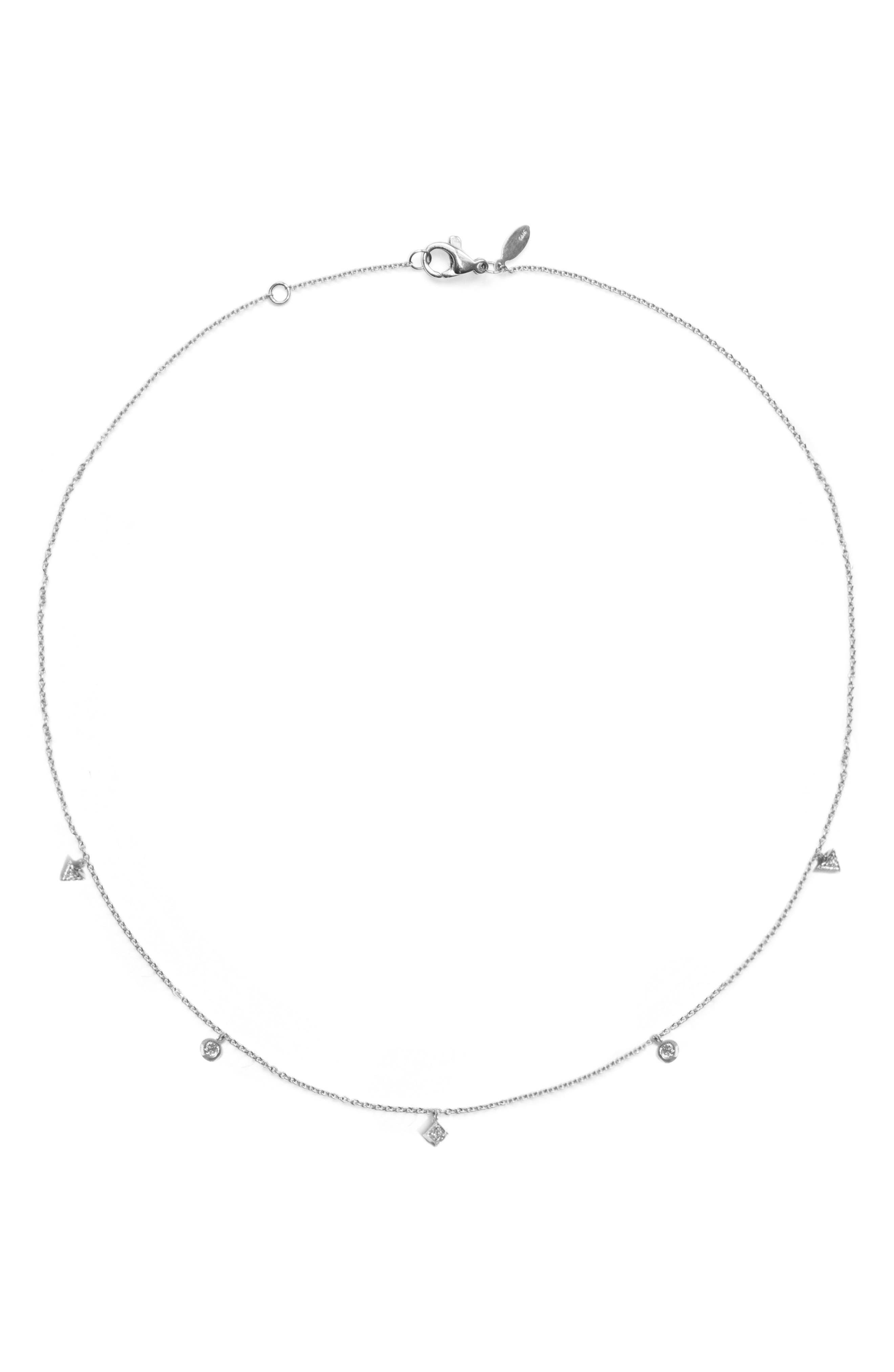 Cleo Dangling Shapes Necklace,                         Main,                         color, SILVER