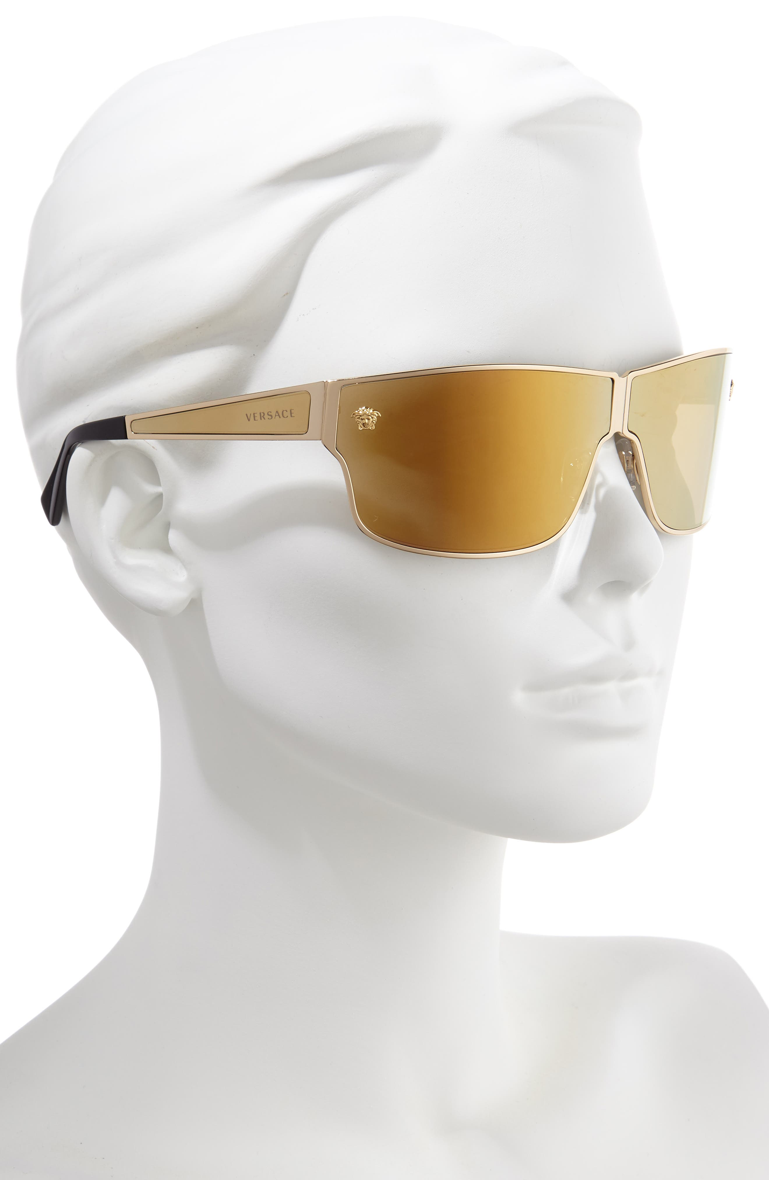 Medusa 72mm Mirrored Shield Sunglasses,                             Alternate thumbnail 2, color,                             GOLD/ GOLD MIRROR
