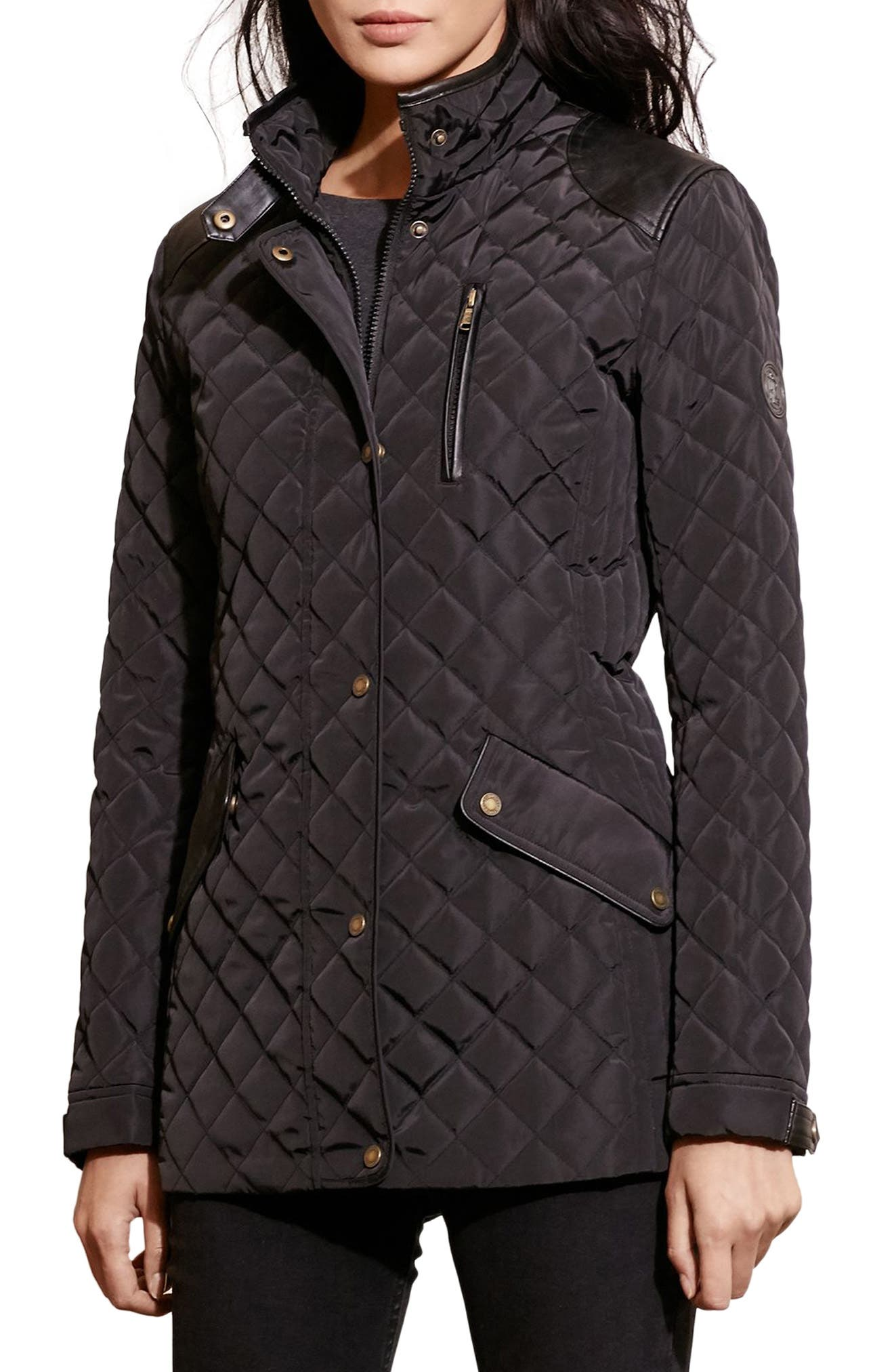 Faux Leather Trim Quilted Coat,                             Main thumbnail 1, color,                             BLACK