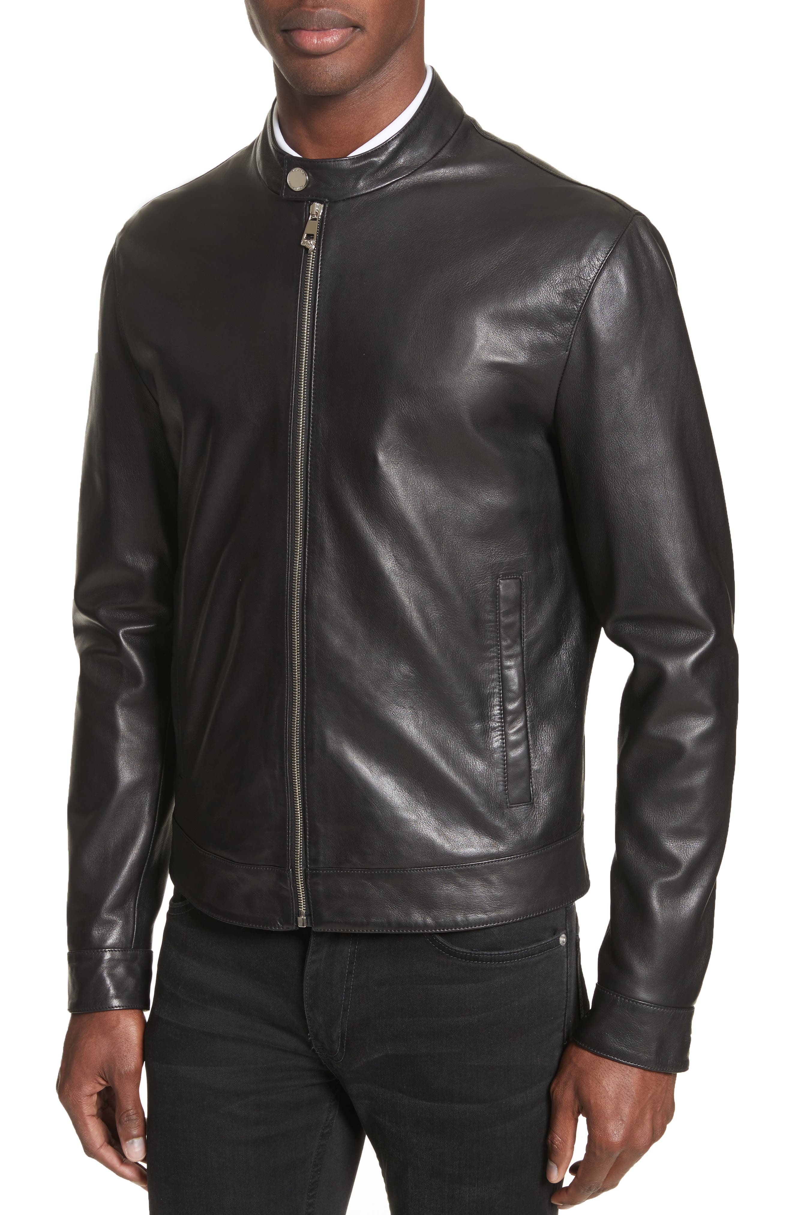 Band Collar Leather Jacket,                             Alternate thumbnail 4, color,                             130