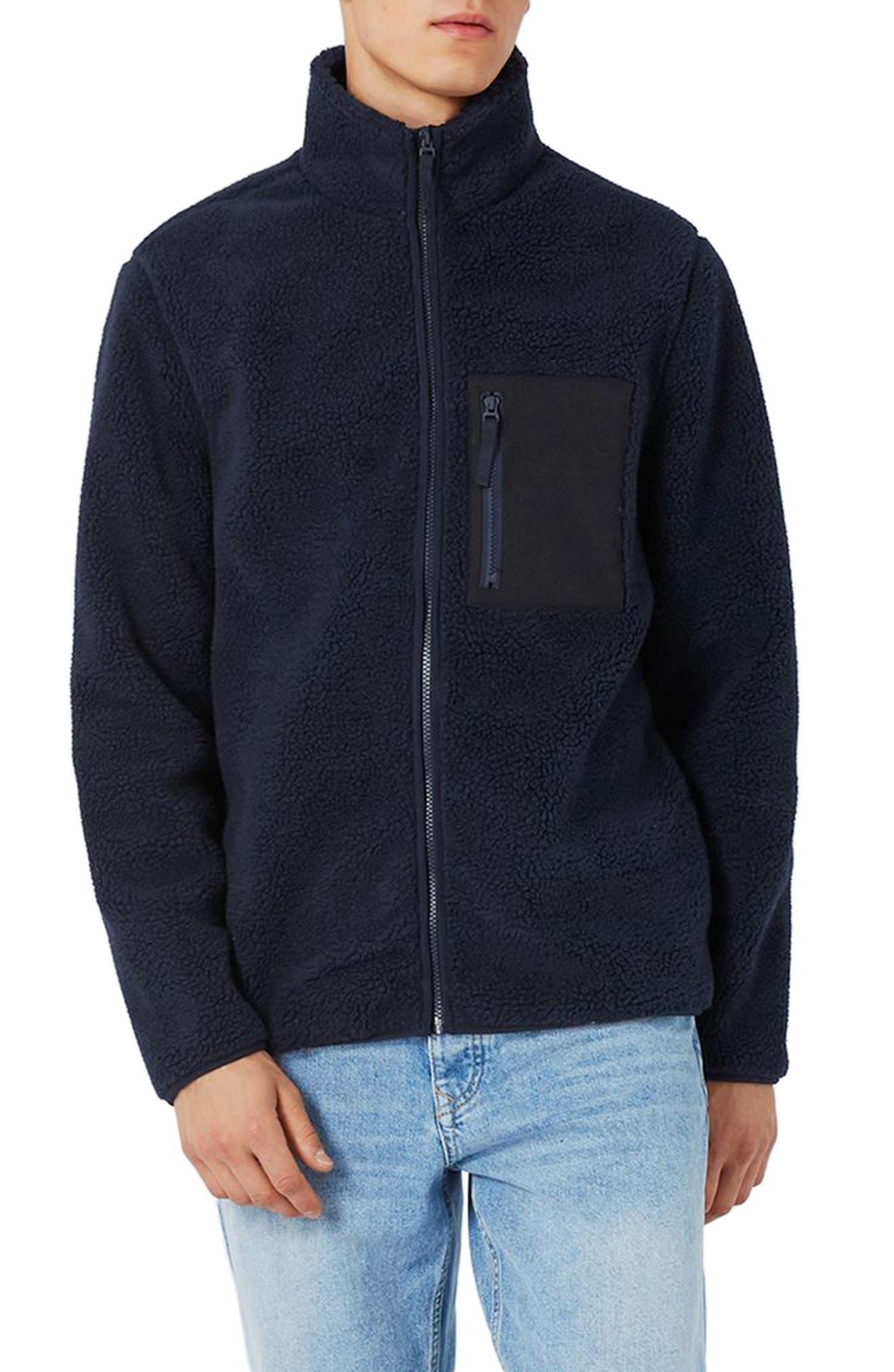 Textured Borg Fleece Jacket,                             Main thumbnail 1, color,                             401