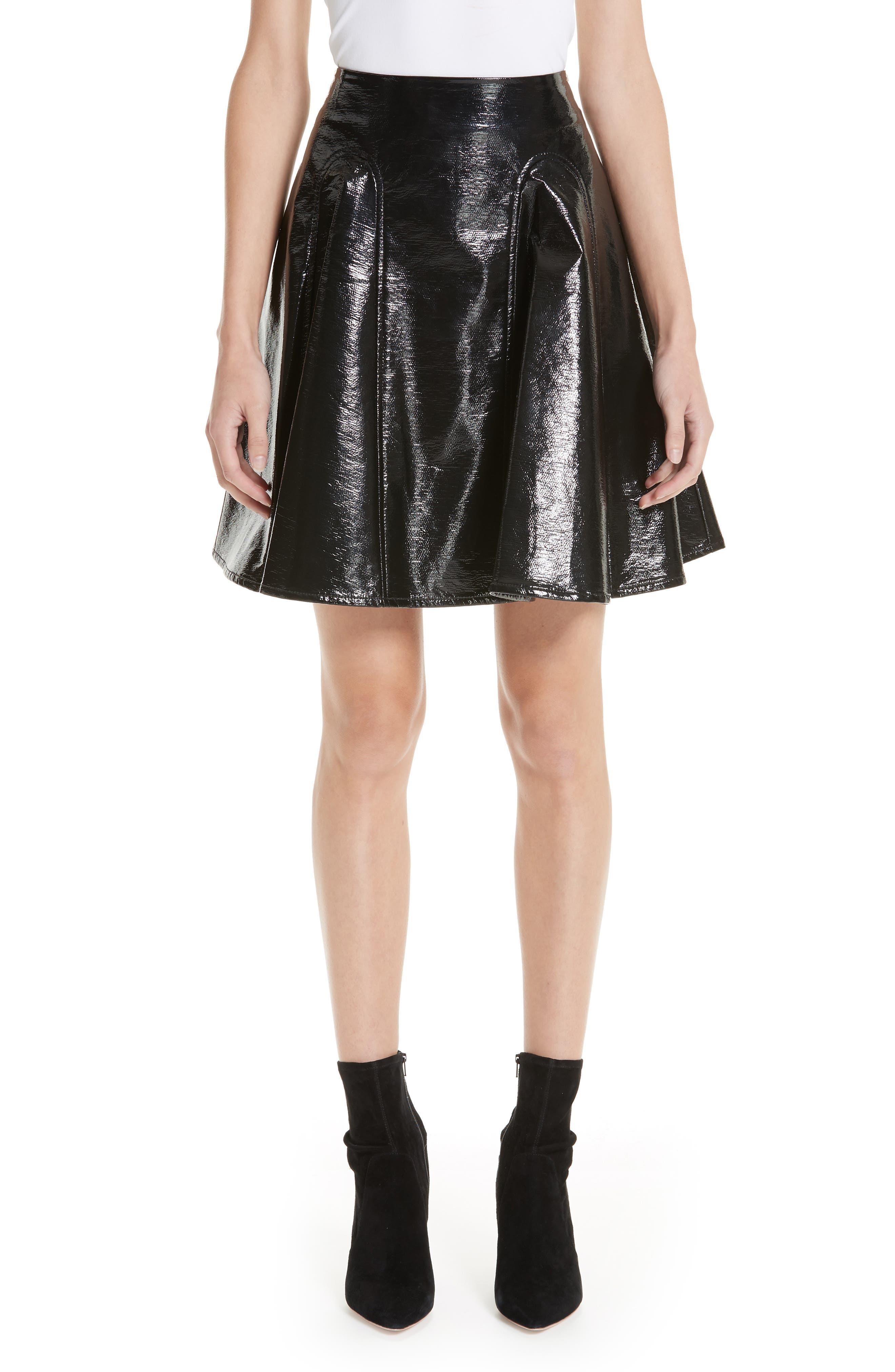Trivia Coated Miniskirt,                             Main thumbnail 1, color,                             BLACK