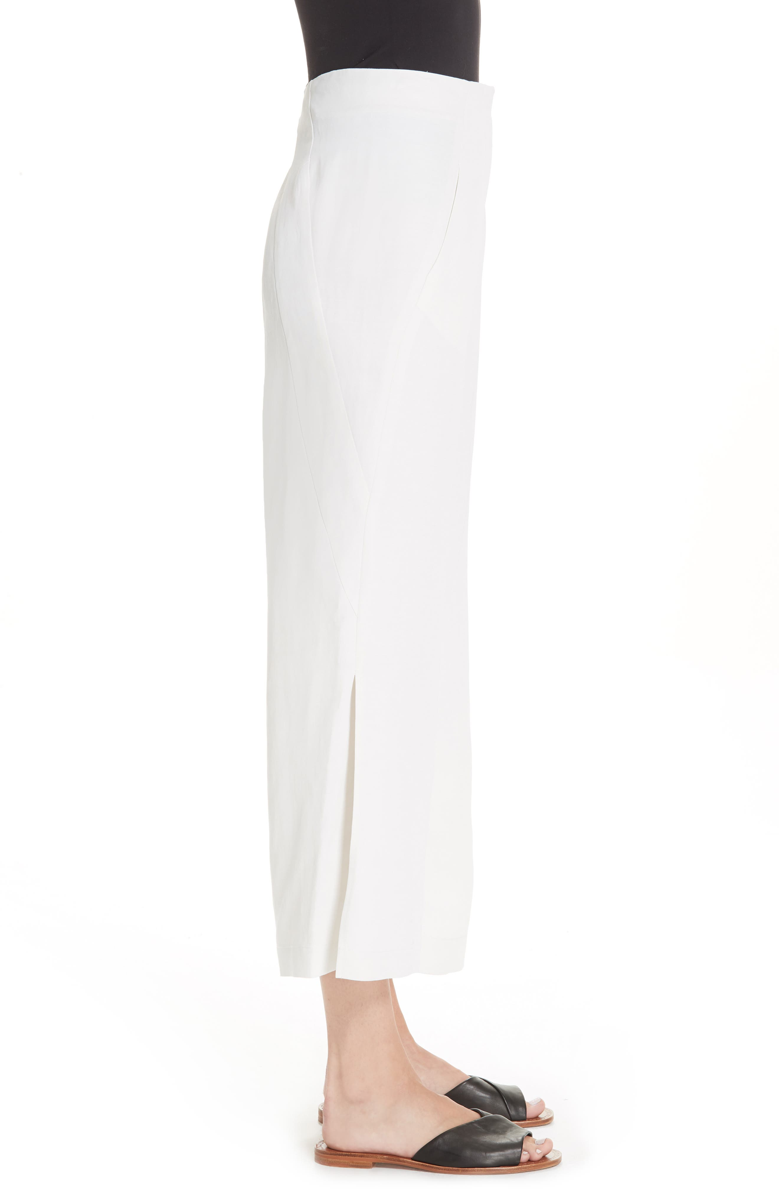 Tin Side Slit Crop Pants,                             Alternate thumbnail 3, color,                             WHITE PEPPER