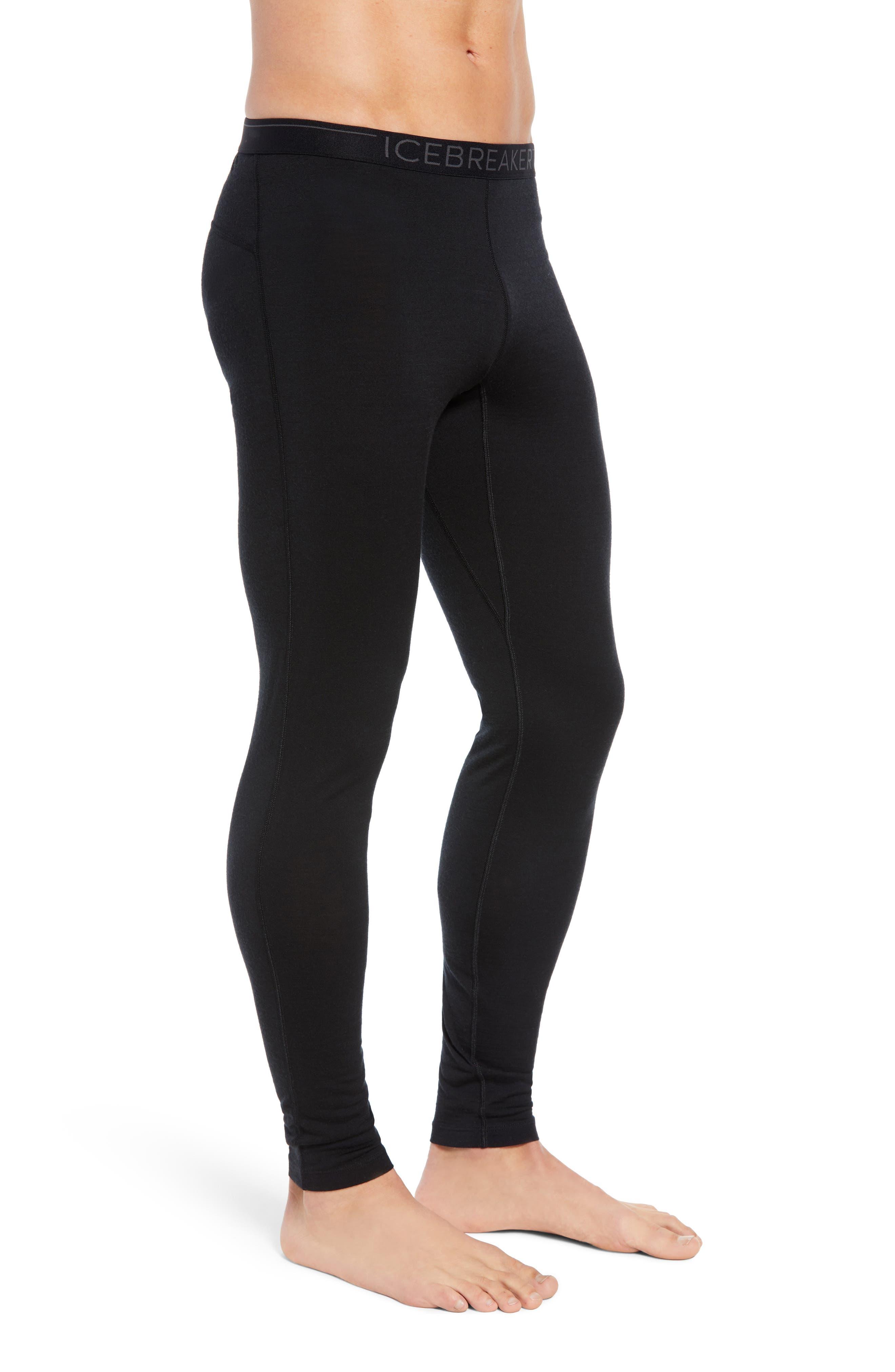 Oasis Slim Merino Wool Jersey Base Layer Leggings,                             Alternate thumbnail 3, color,                             BLACK