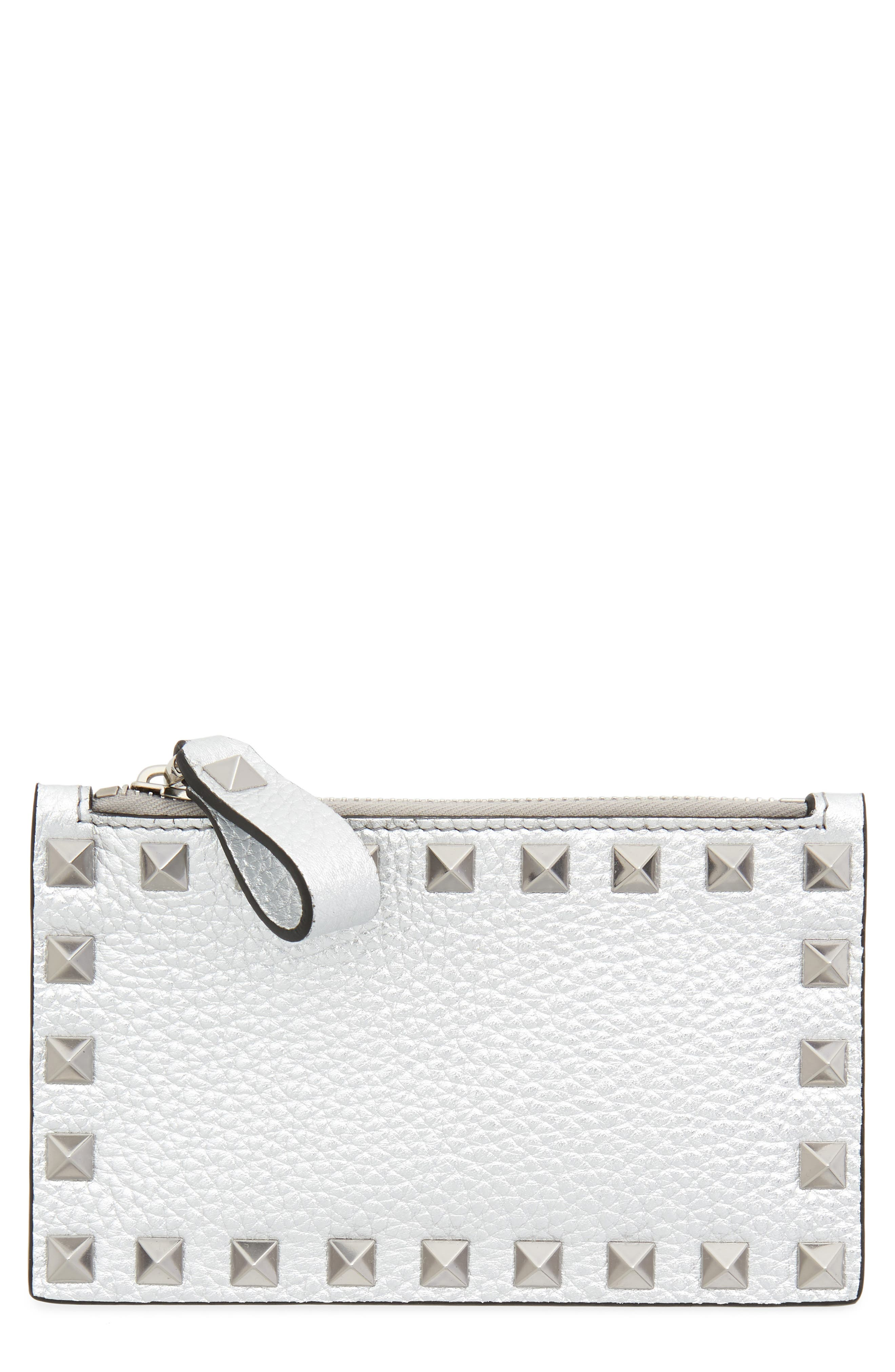 Rockstud Leather Zip Card Case,                             Main thumbnail 1, color,                             SILVER
