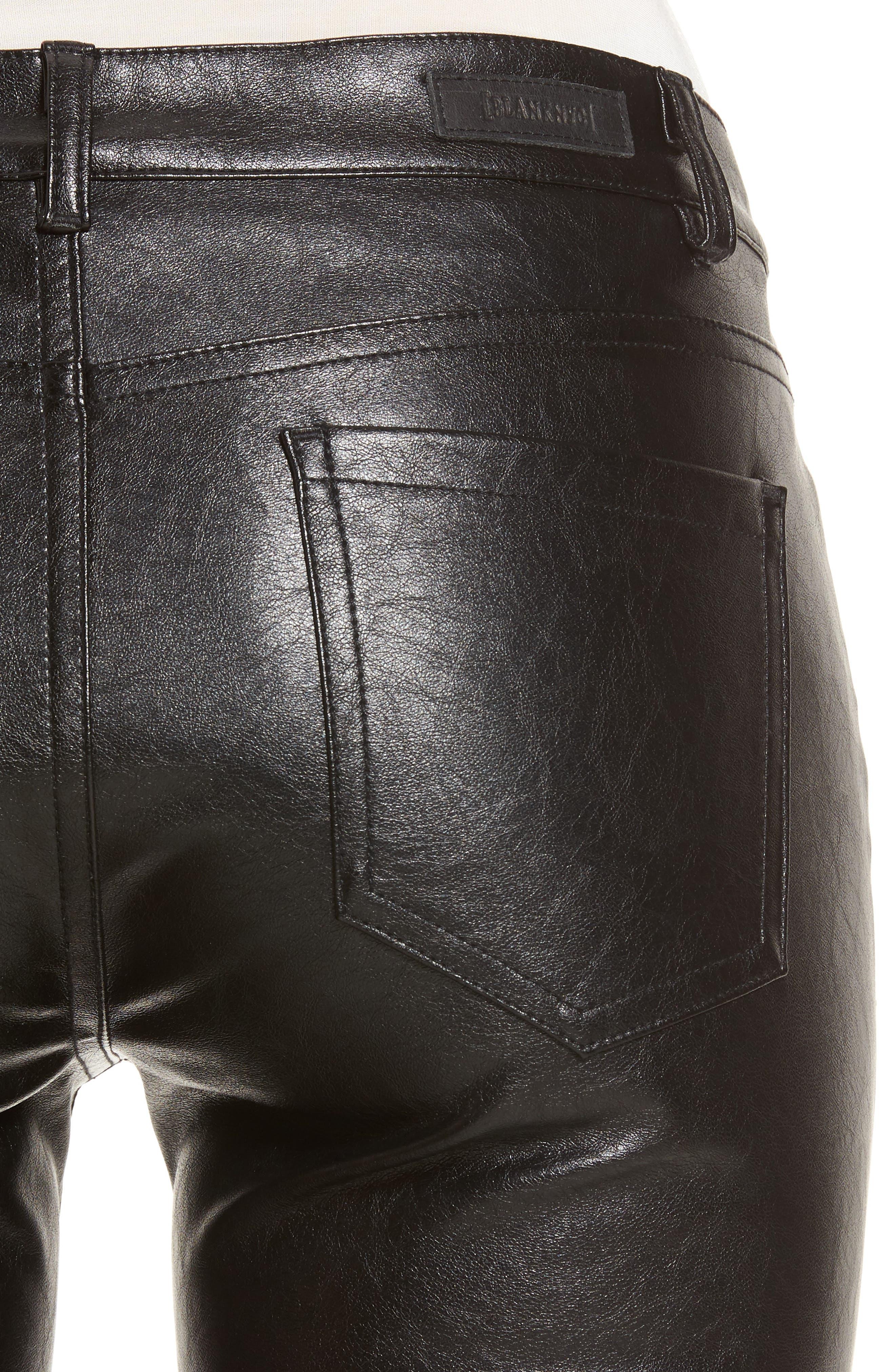 Skinny Classique Faux Leather Jeans,                             Alternate thumbnail 4, color,                             001