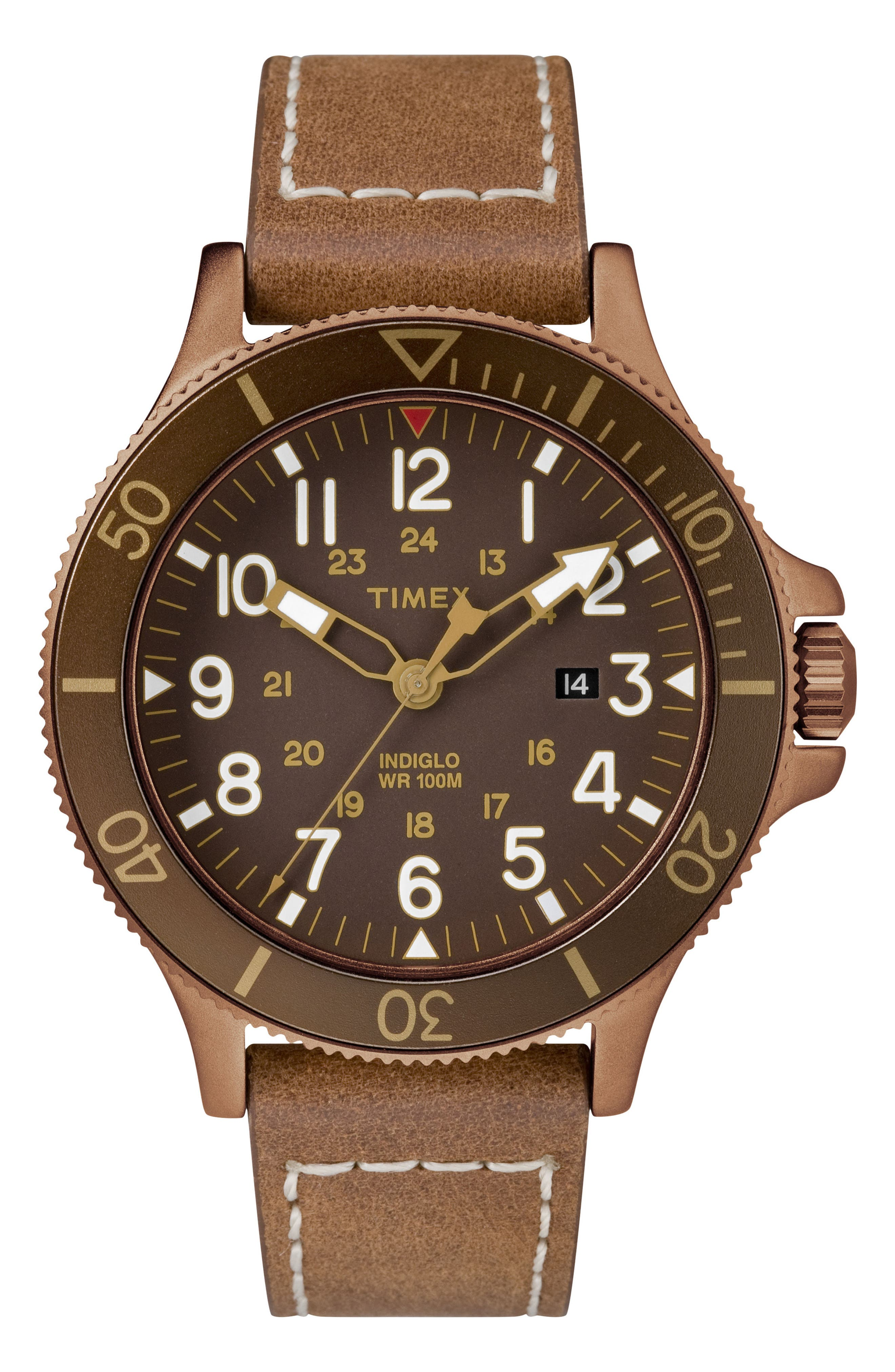 Allied Leather Strap Watch, 43mm,                             Main thumbnail 2, color,