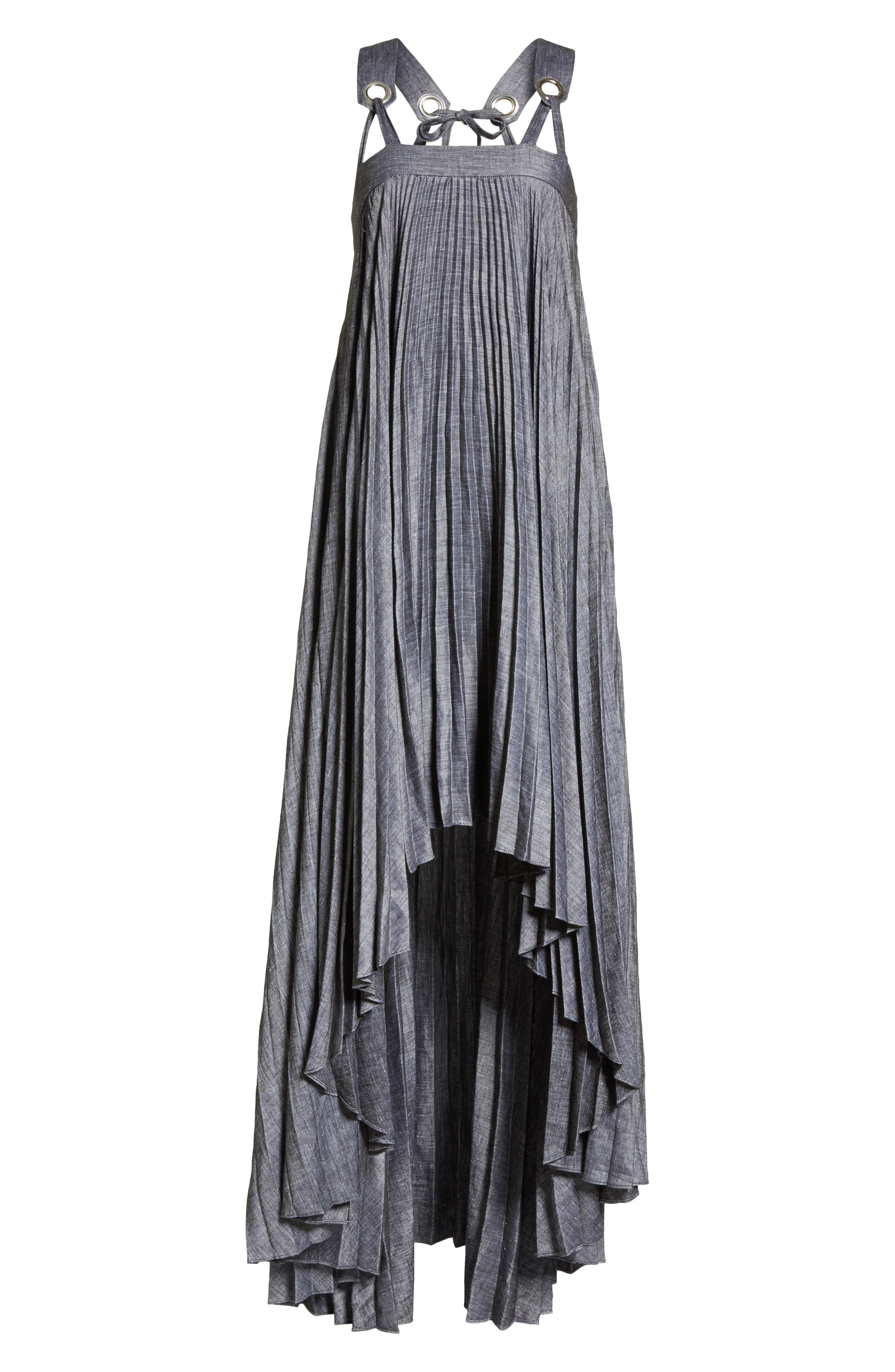 Sawyer High/Low Linen Blend Dress,                             Alternate thumbnail 6, color,                             020