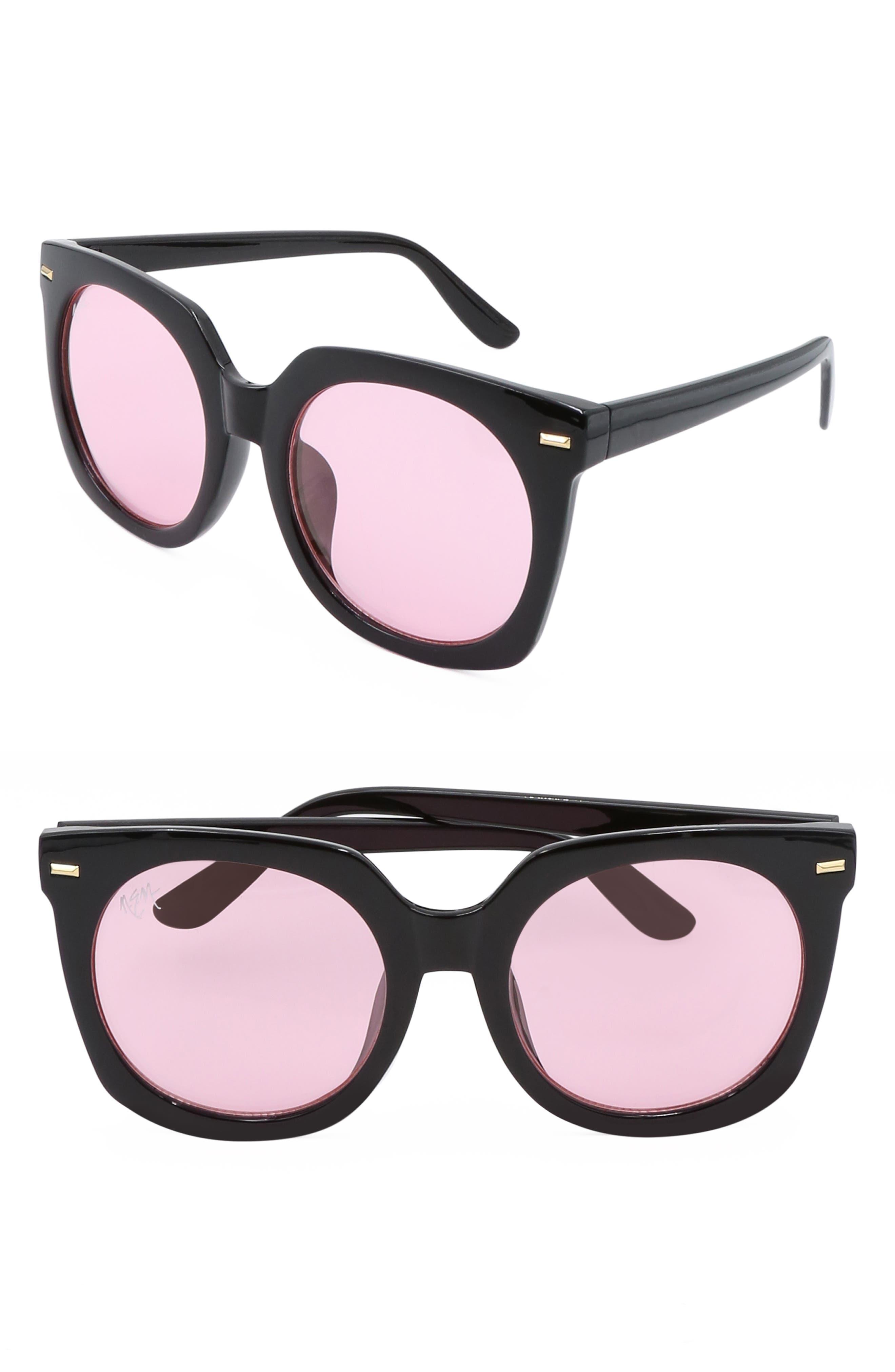Nem Melrose 55Mm Square Sunglasses - Black W Pink Half Tint Lens