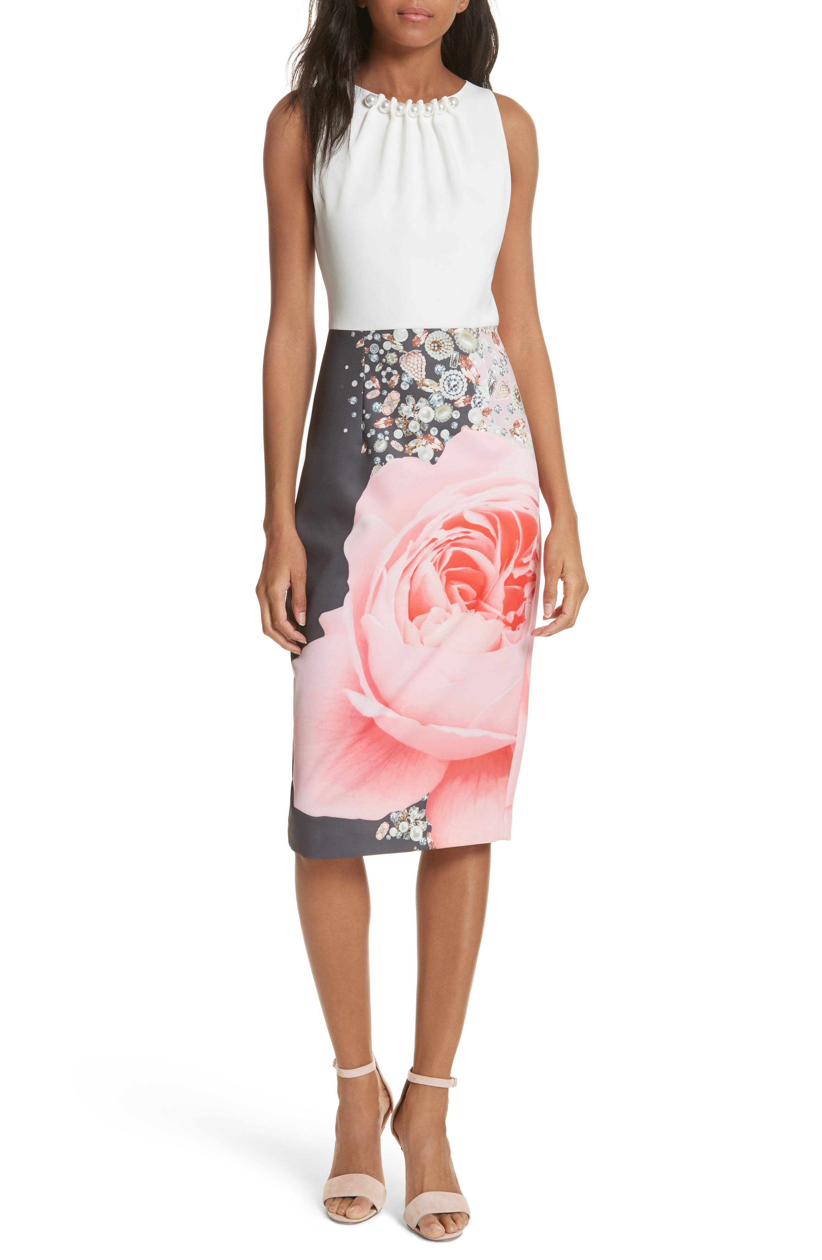 TED BAKER LONDON Blenheim Palace Embellished Body-Con Dress, Main, color, 253