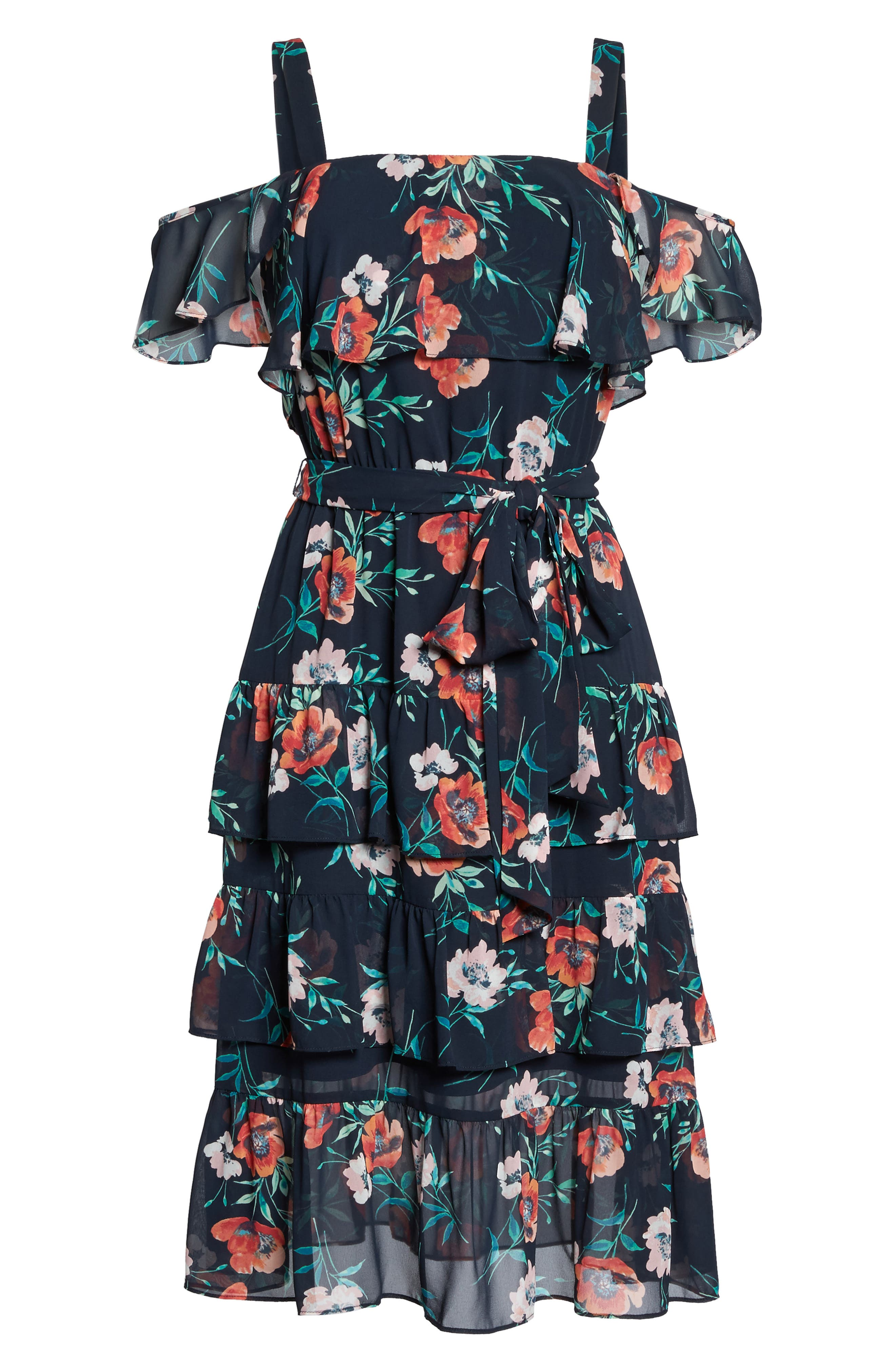 Floral Ruffle Dress,                             Alternate thumbnail 6, color,                             410