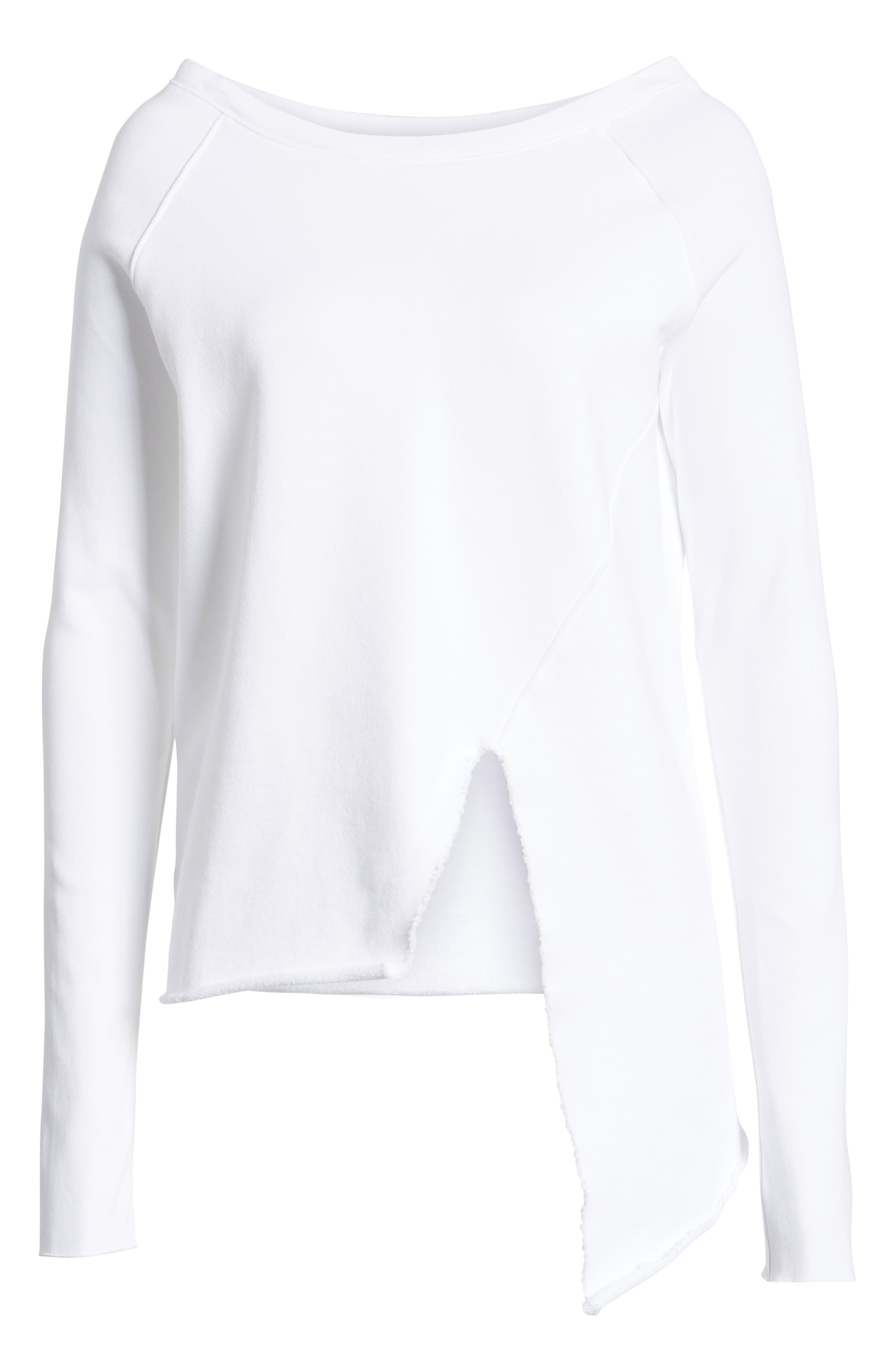 Asymmetric Sweatshirt,                             Alternate thumbnail 7, color,                             WHITEOUT