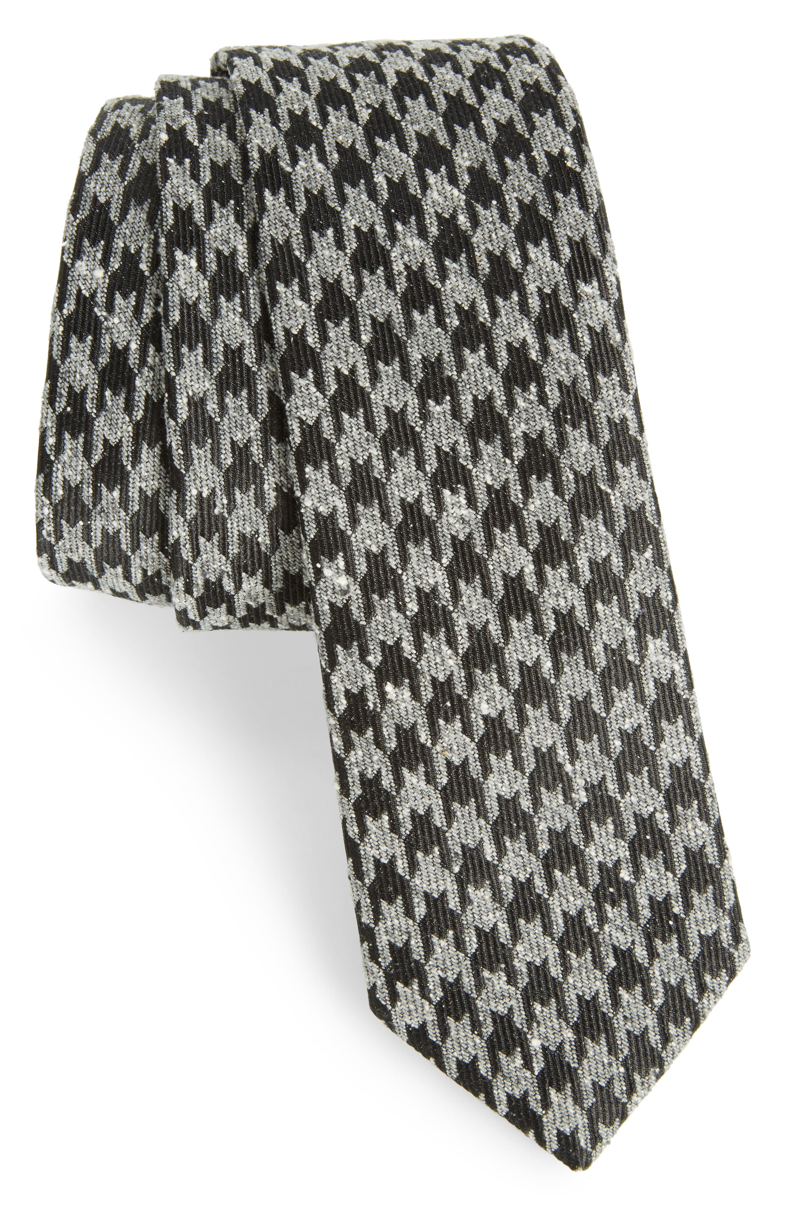 Houndstooth Thrill Silk Tie,                             Main thumbnail 1, color,                             001