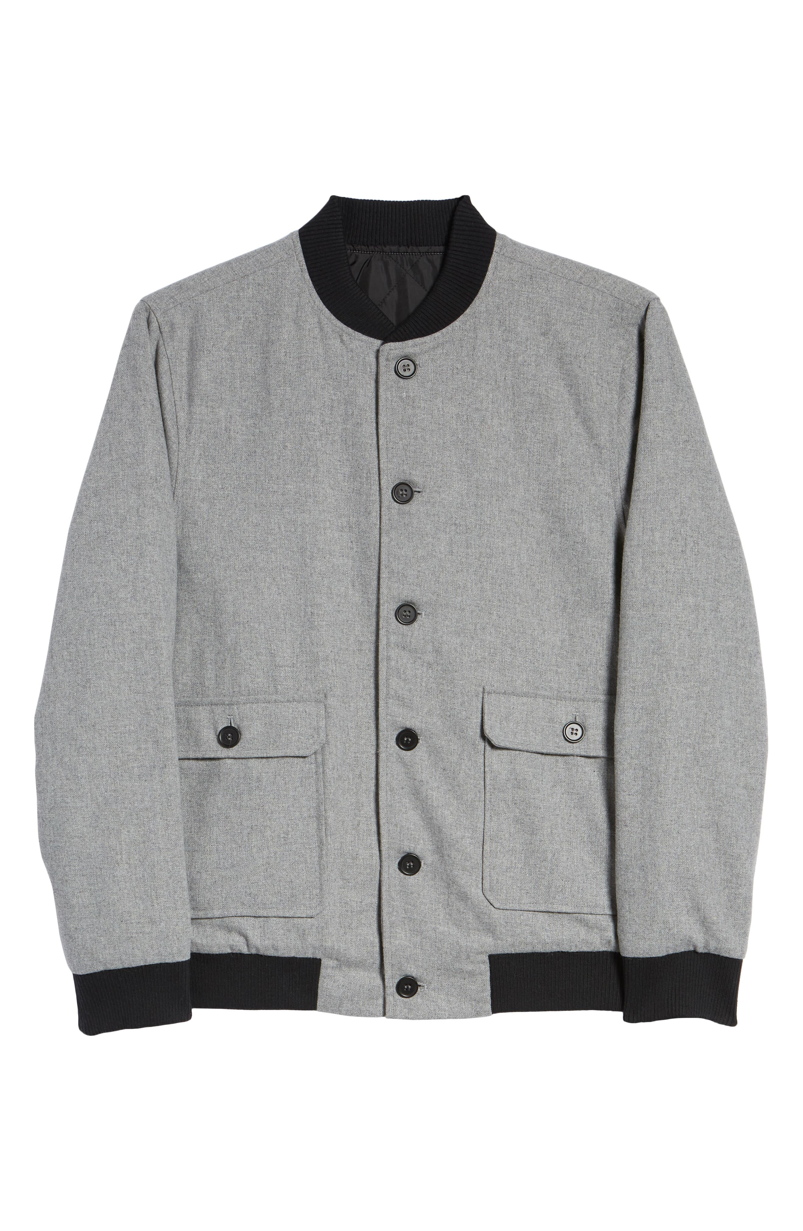 Button Front Bomber Jacket,                             Alternate thumbnail 6, color,                             GREY TORNADO HEATHER