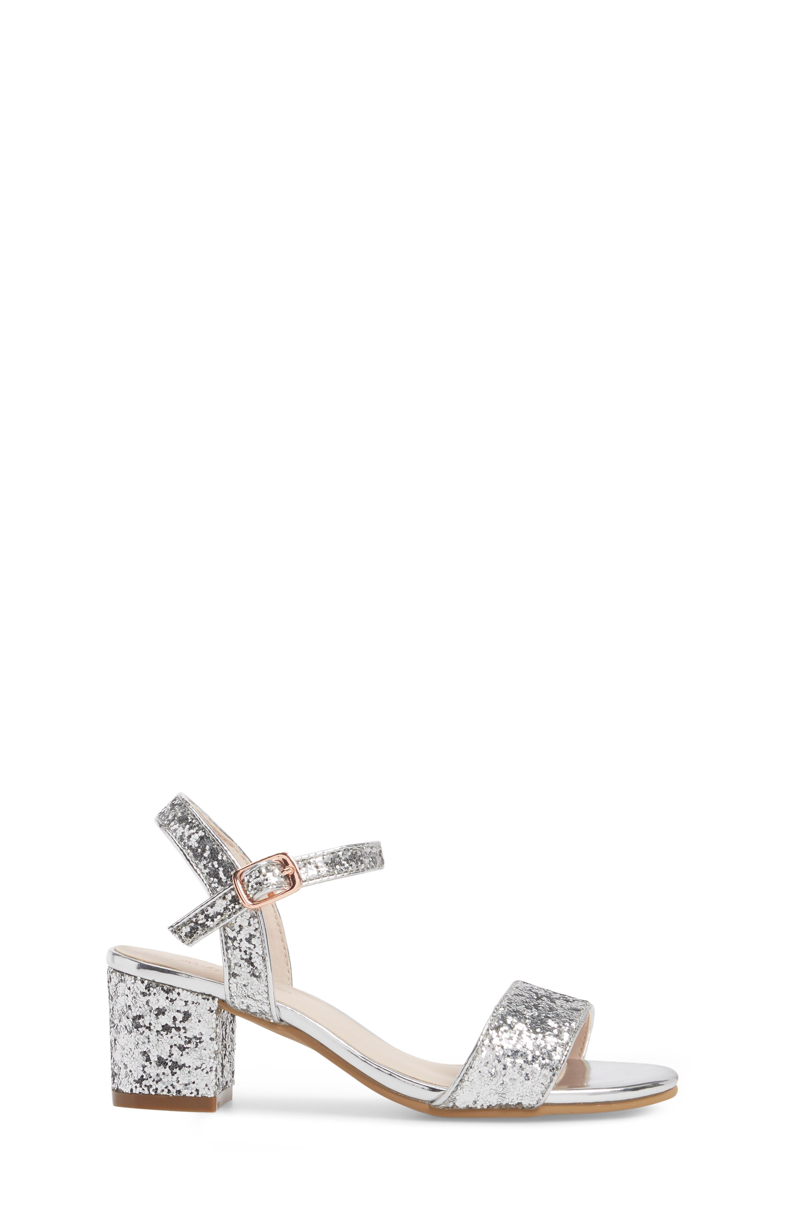 Danni Block Heel Sandal,                             Alternate thumbnail 3, color,                             SILVER GLITTER