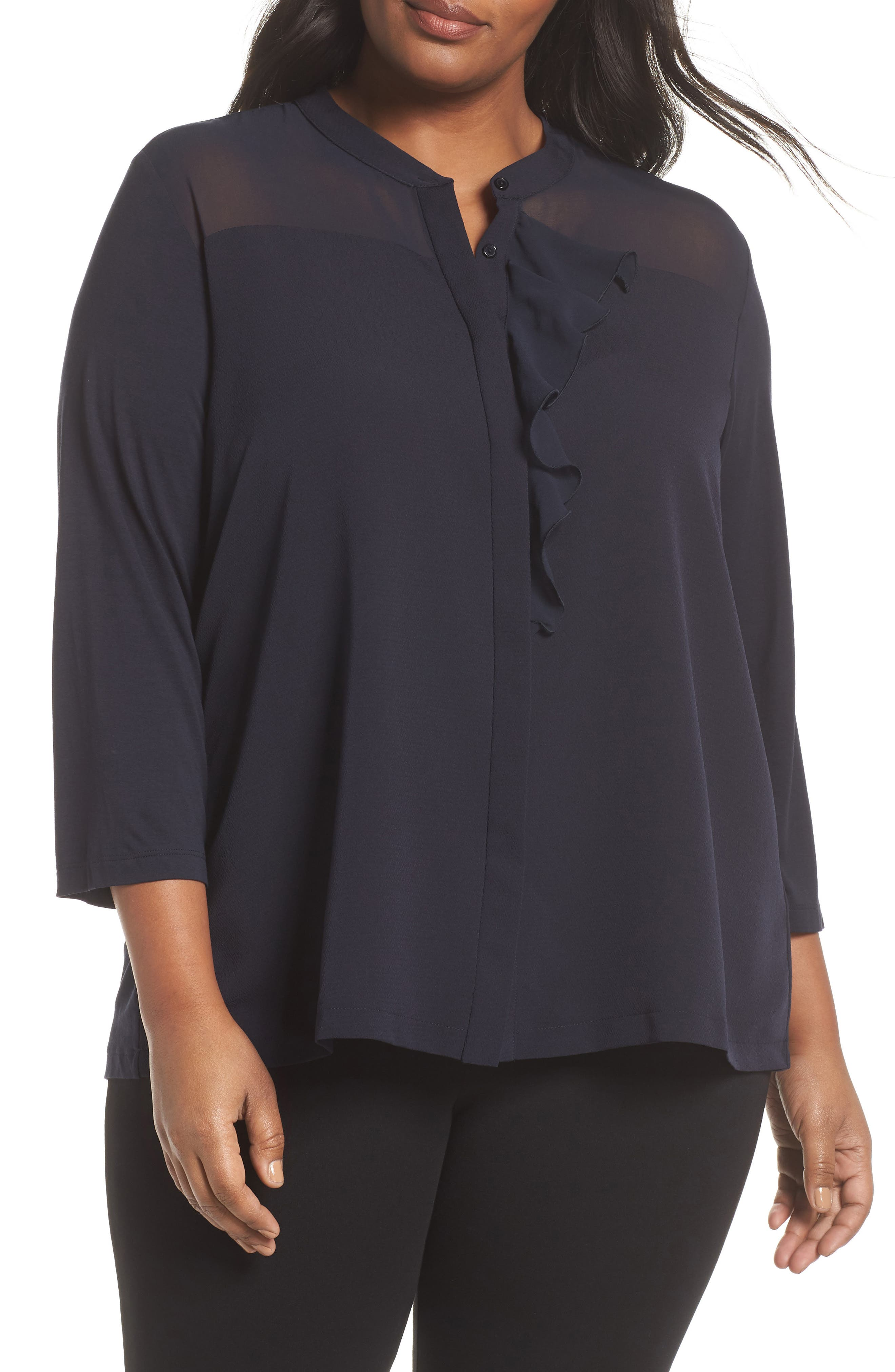 Ruffle Front Top,                         Main,                         color, 411